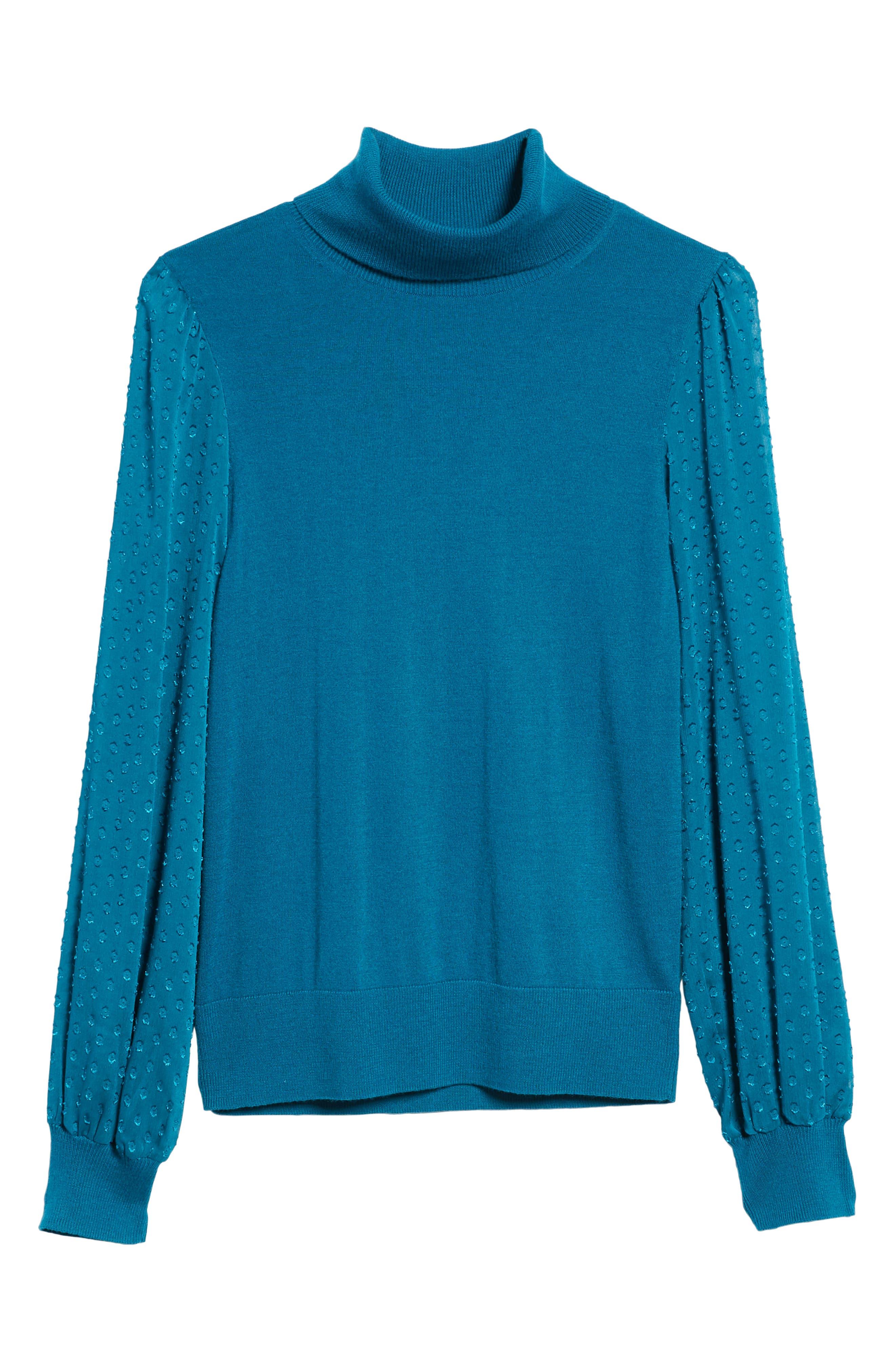 Sheer Sleeve Turtleneck Sweater,                             Alternate thumbnail 6, color,                             449
