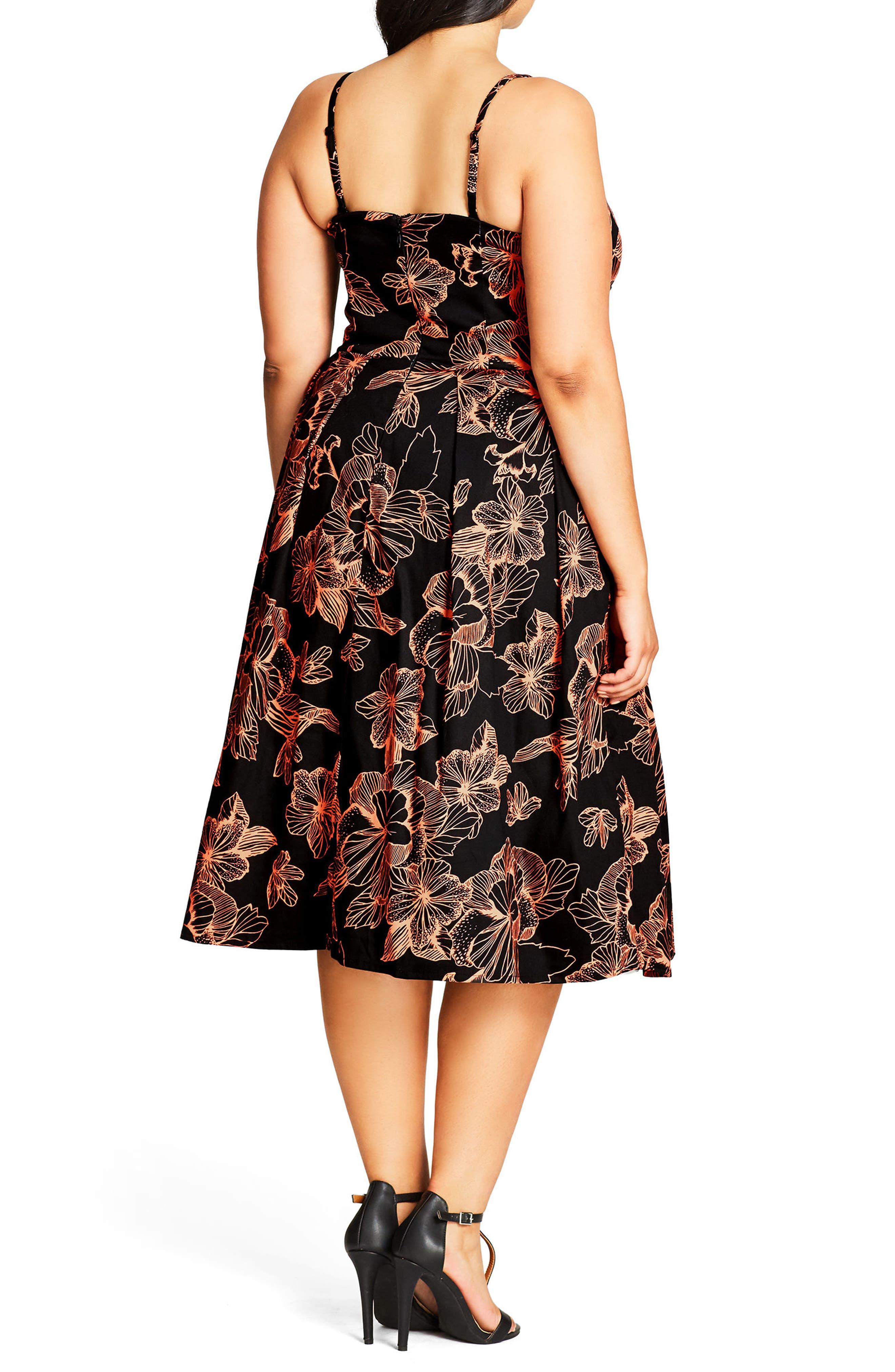 Floral Outline Fit & Flare Dress,                             Alternate thumbnail 2, color,                             001