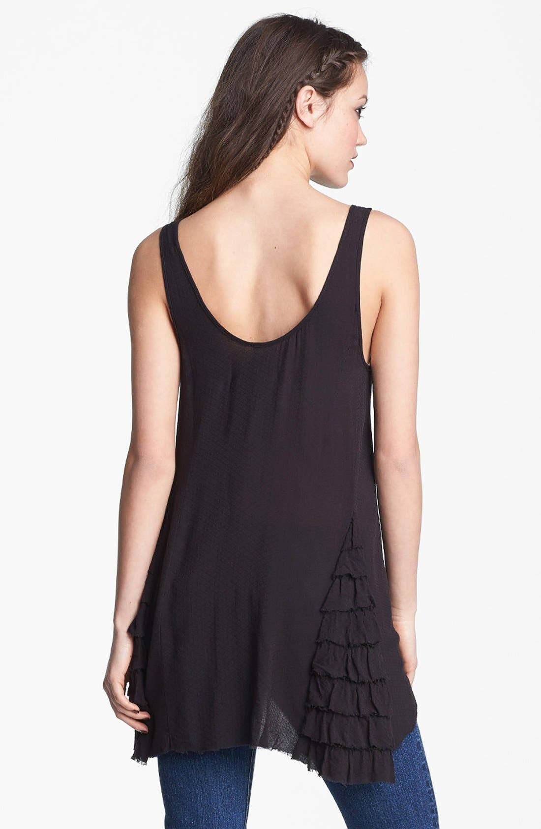 FREE PEOPLE,                             Ruffled Woven Tank,                             Alternate thumbnail 2, color,                             001