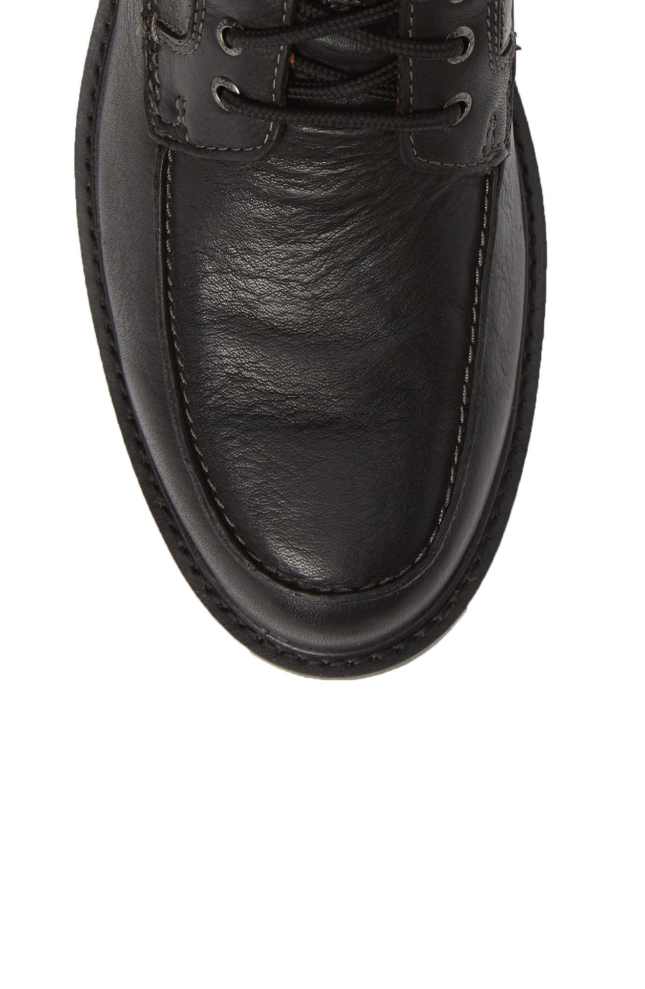 Rutledge Waterproof Moc Toe Boot,                             Alternate thumbnail 5, color,                             BLACK LEATHER