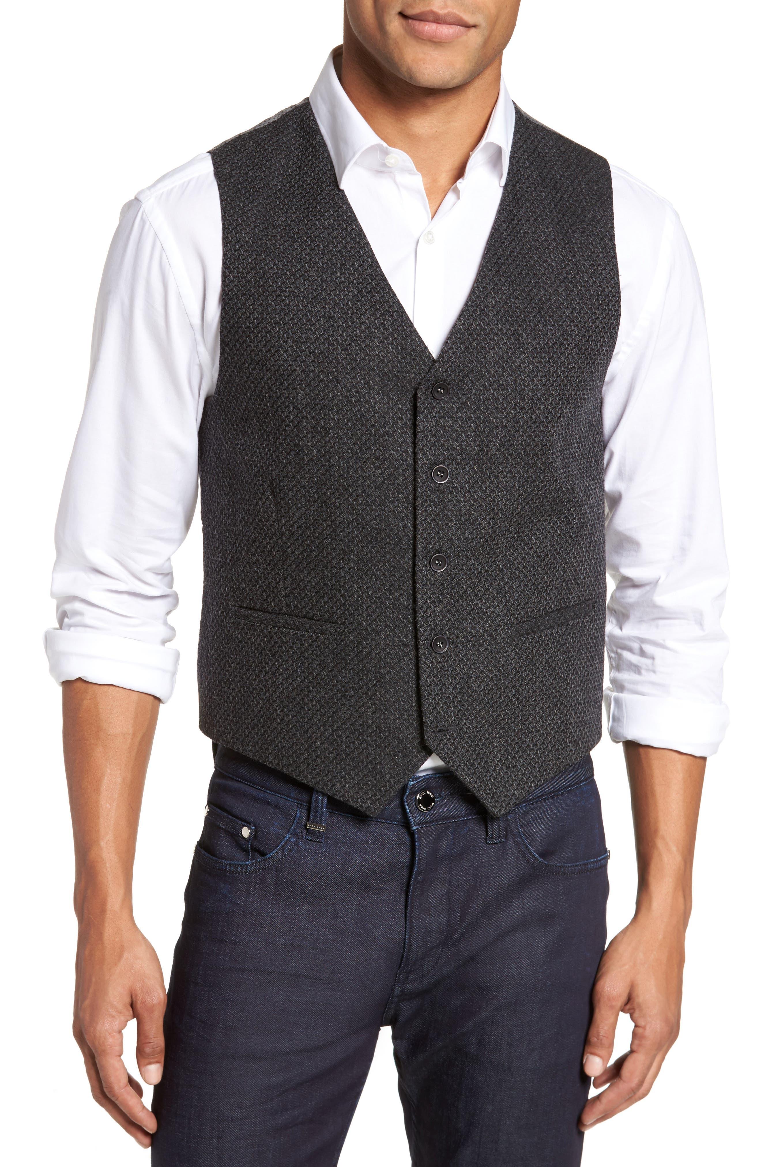 Textured Wool Blend Vest,                         Main,                         color, 020
