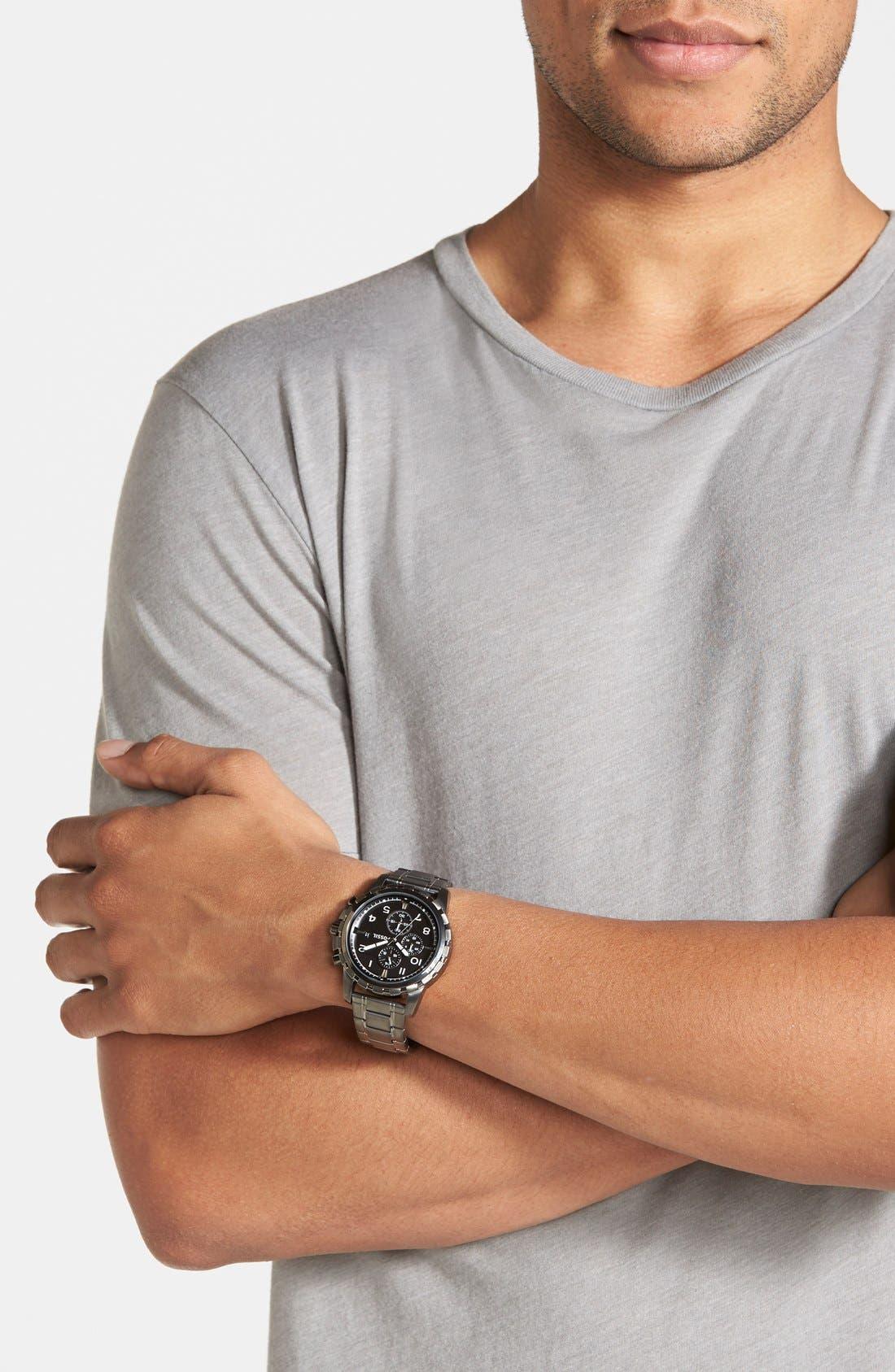 Notched Bezel Chronograph Bracelet Watch, 45mm,                             Alternate thumbnail 4, color,