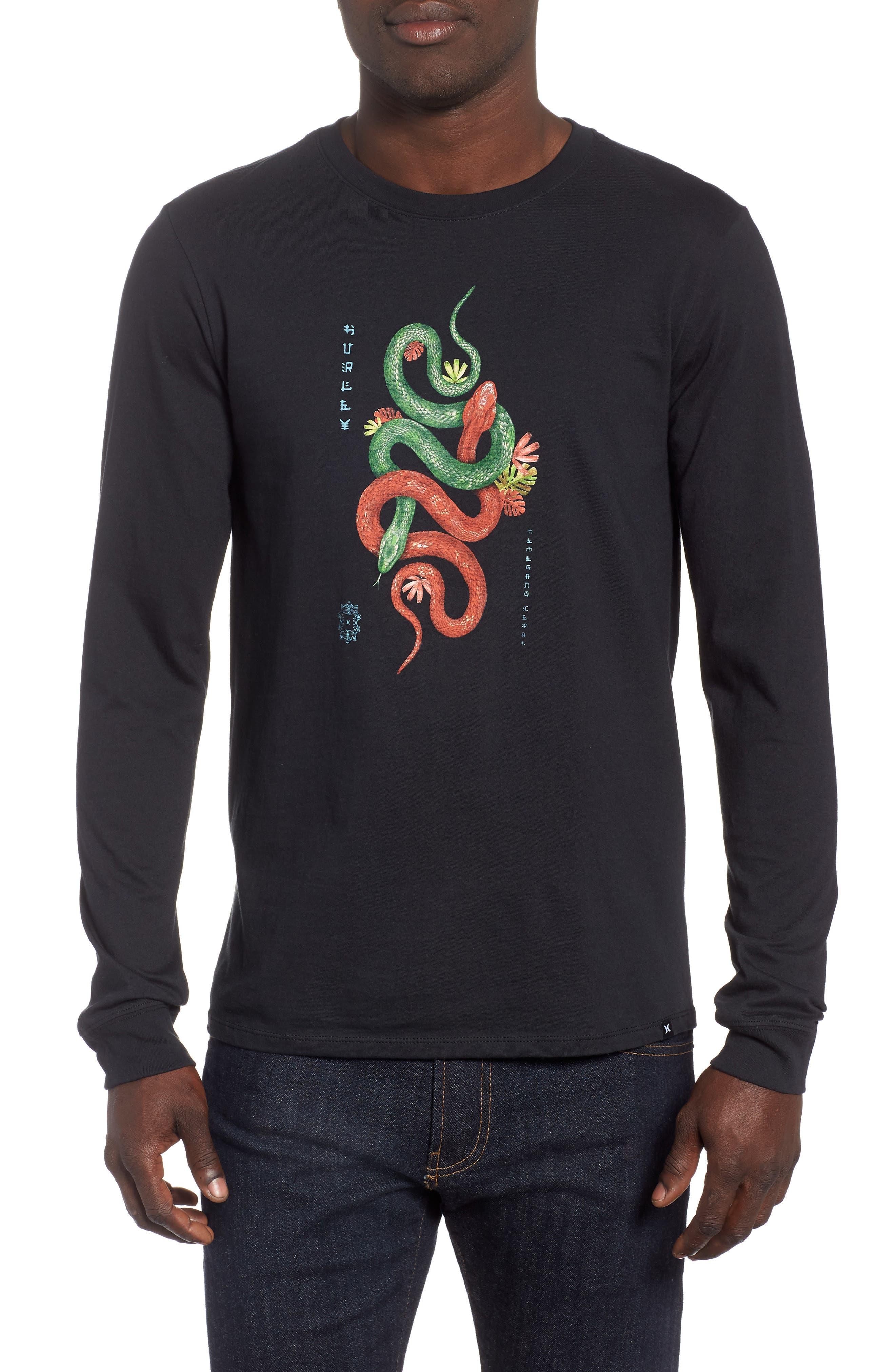 Tread Lightly Long Sleeve T-Shirt,                         Main,                         color, BLACK