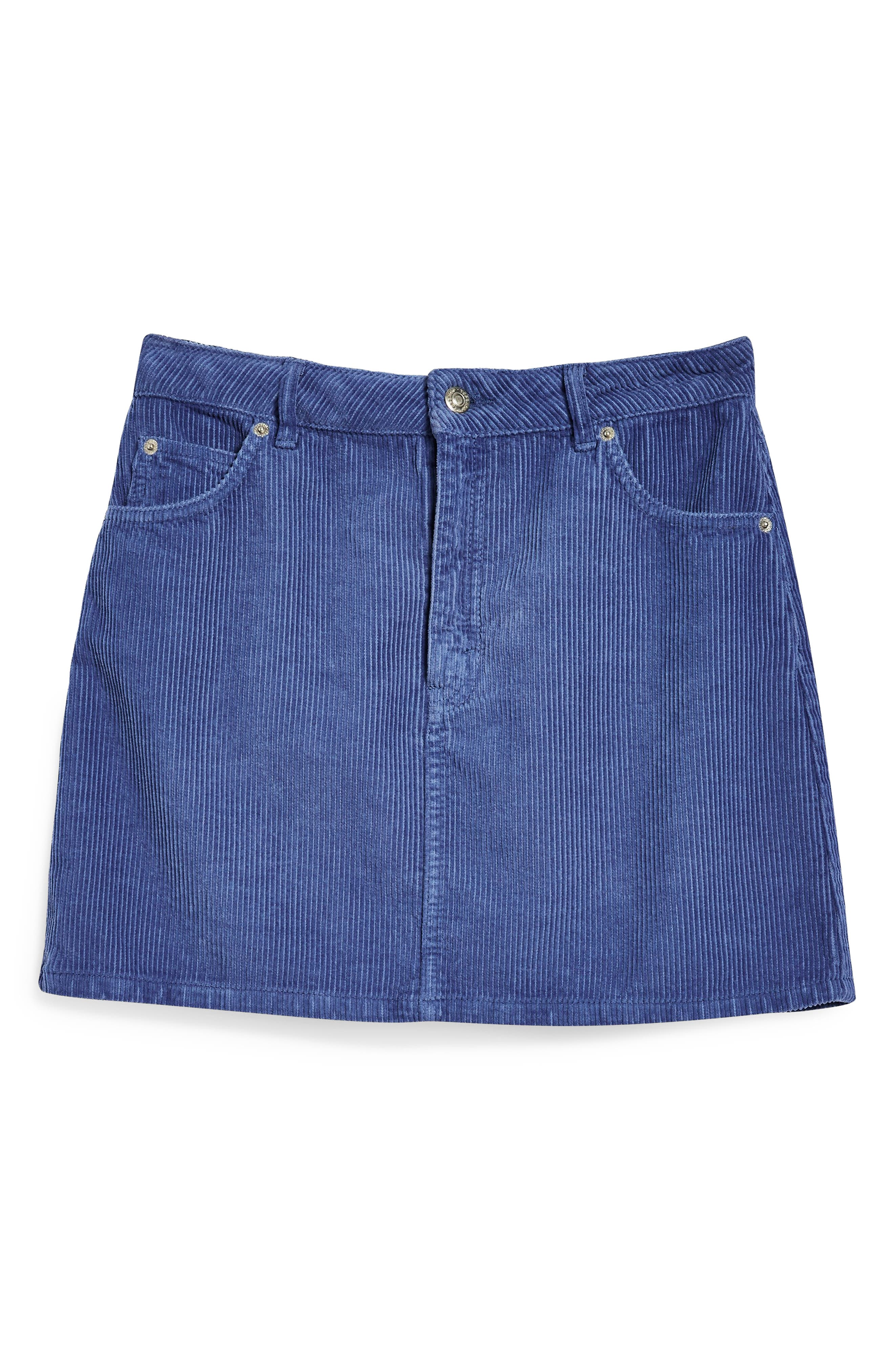 TOPSHOP,                             Corduroy Skirt,                             Alternate thumbnail 4, color,                             LIGHT BLUE