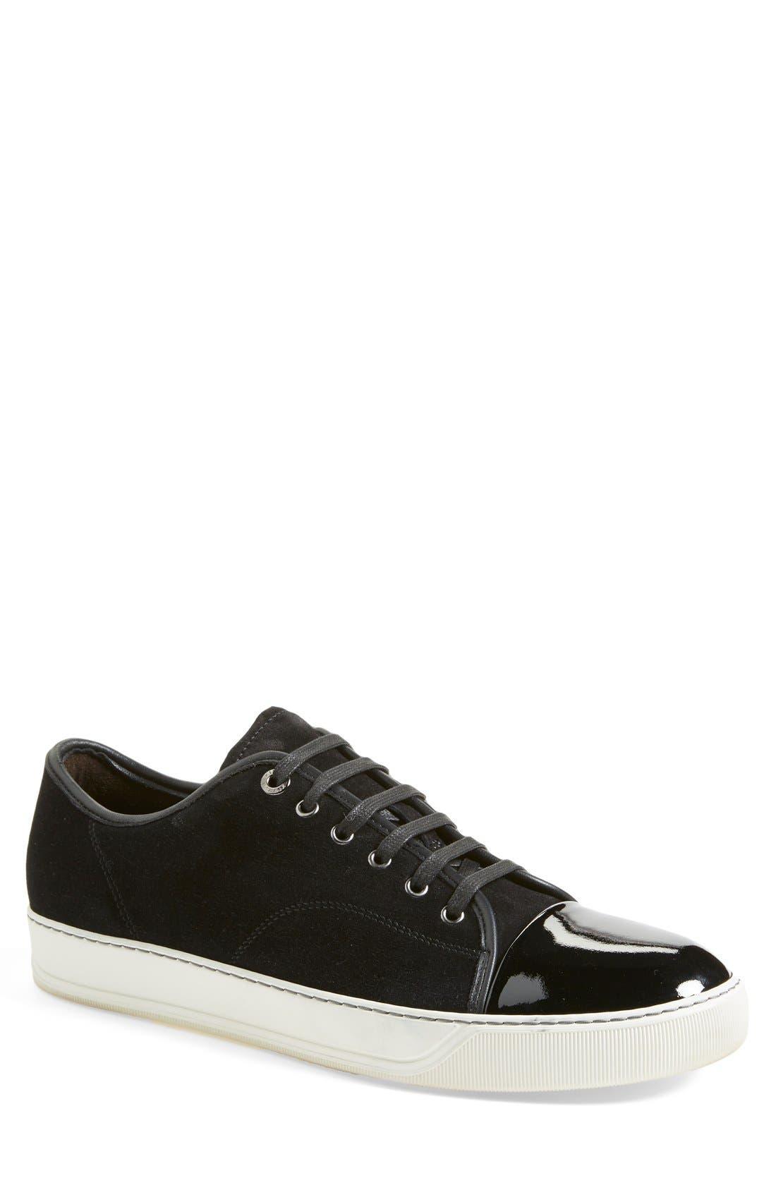 LANVIN Low Top Suede Sneaker, Main, color, BLACK