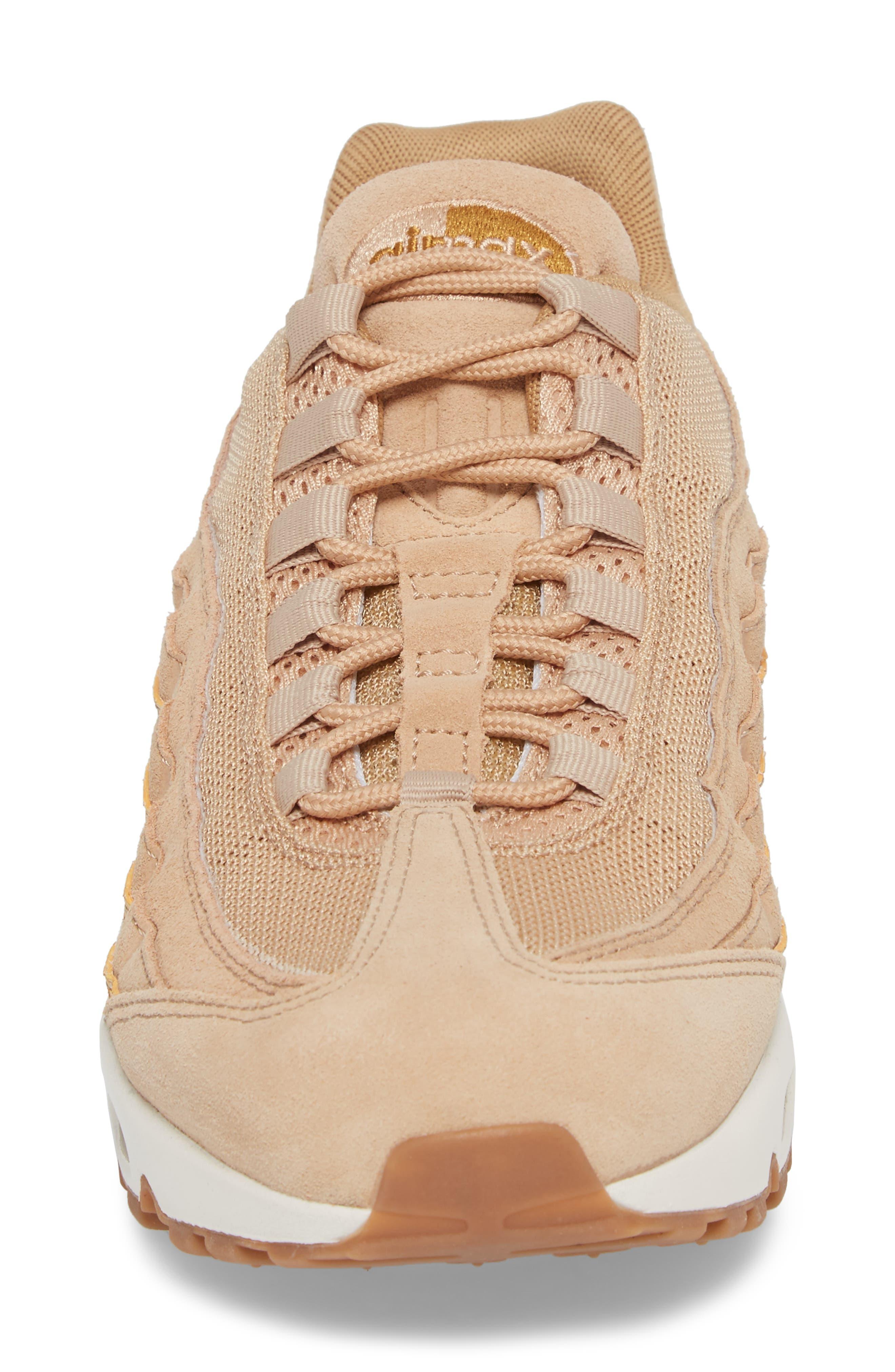 Air Max 95 Premium SE Sneaker,                             Alternate thumbnail 4, color,                             TAN/ TAN/ ELEMENTAL GOLD