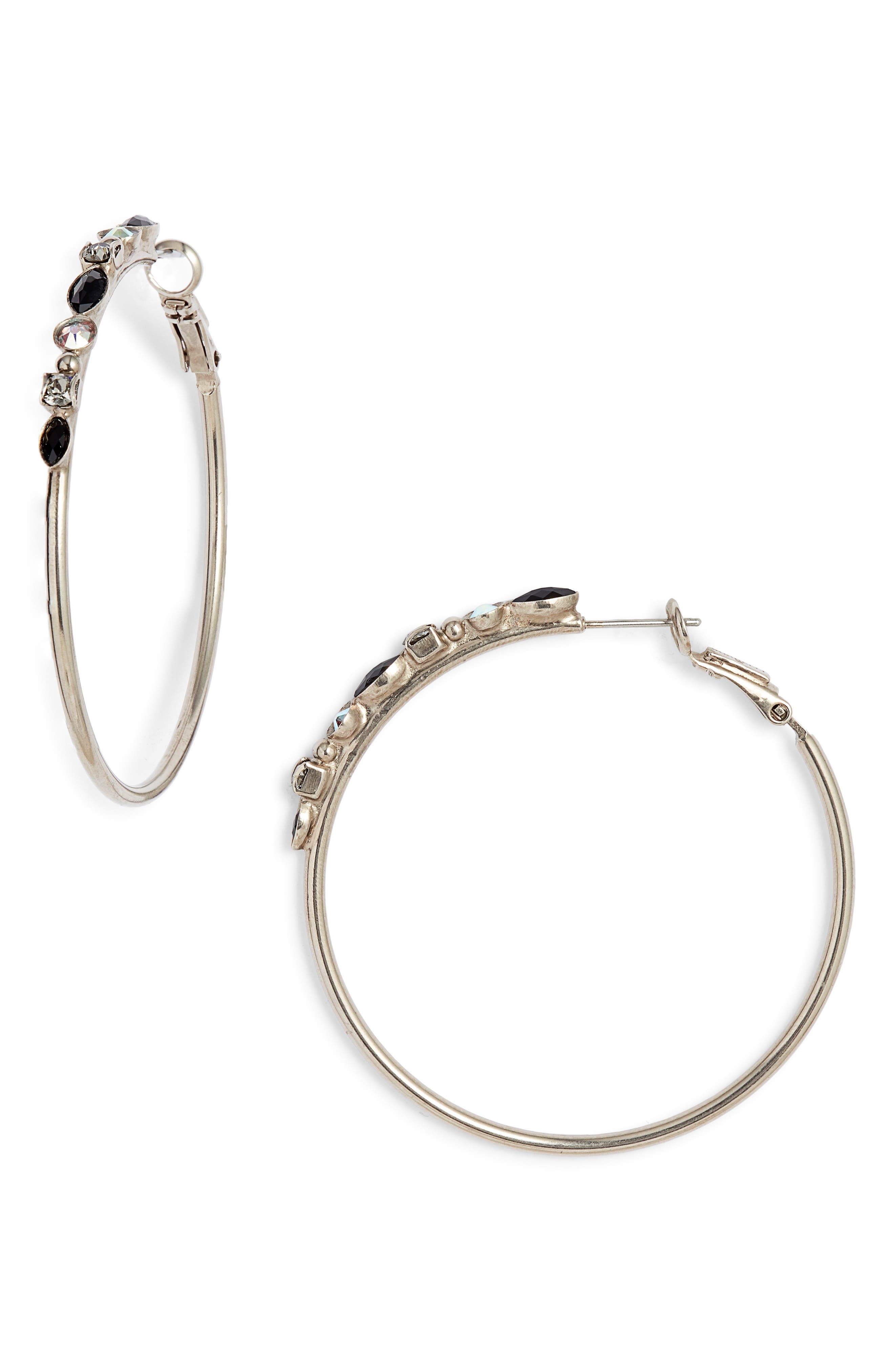 SORRELLI Large Mixed Media Hoop Earrings in Black