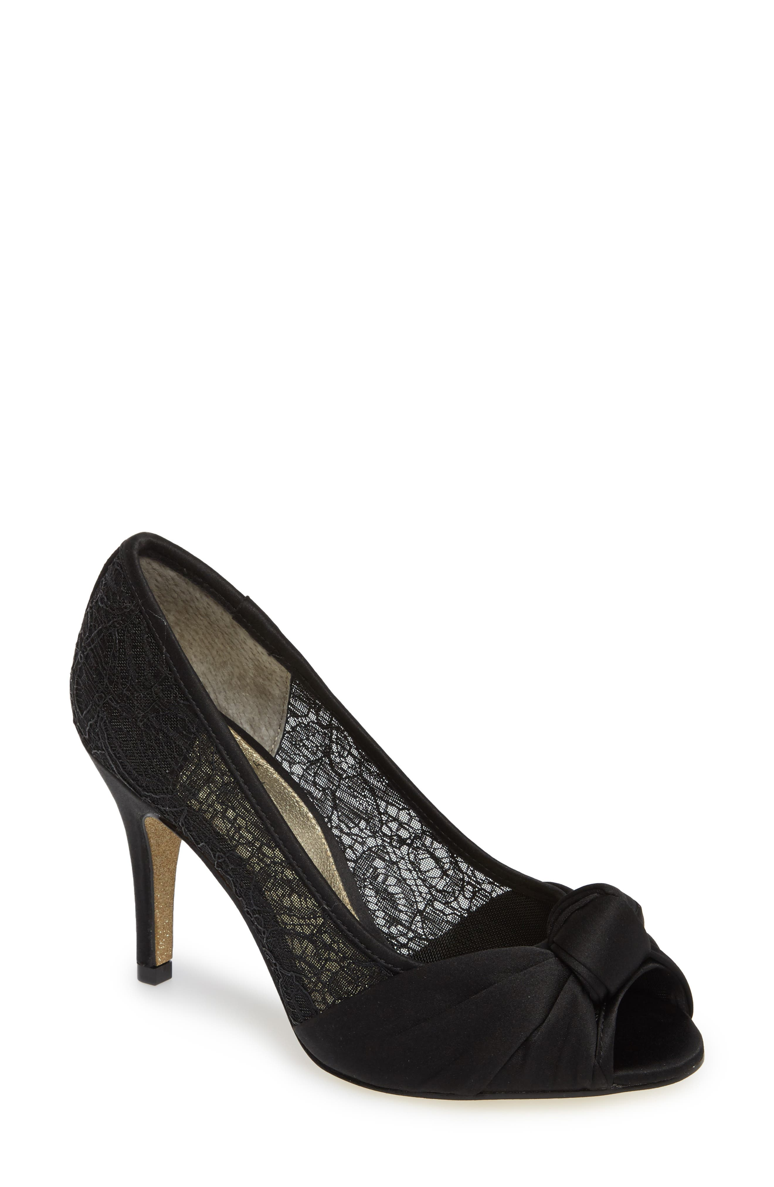 Francesca Knotted Peep Toe Pump,                         Main,                         color, 001