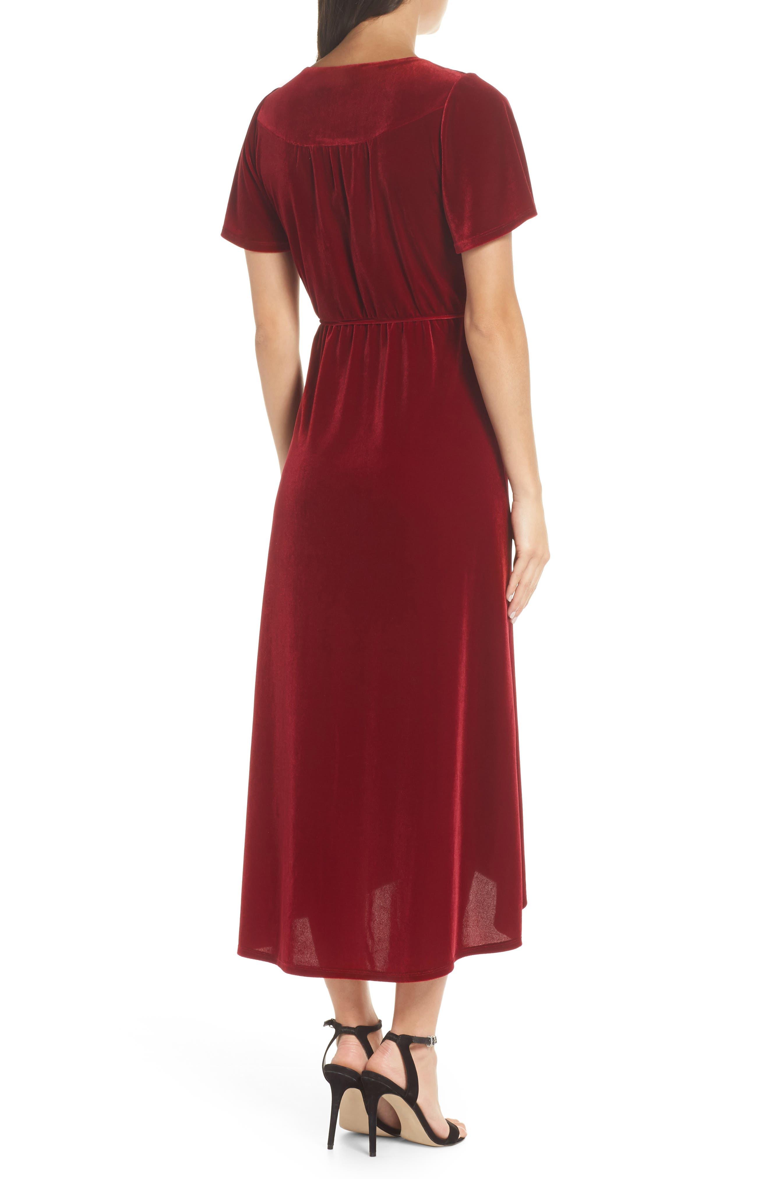 Velvet Midi Dress,                             Alternate thumbnail 2, color,                             RED TIBETAN
