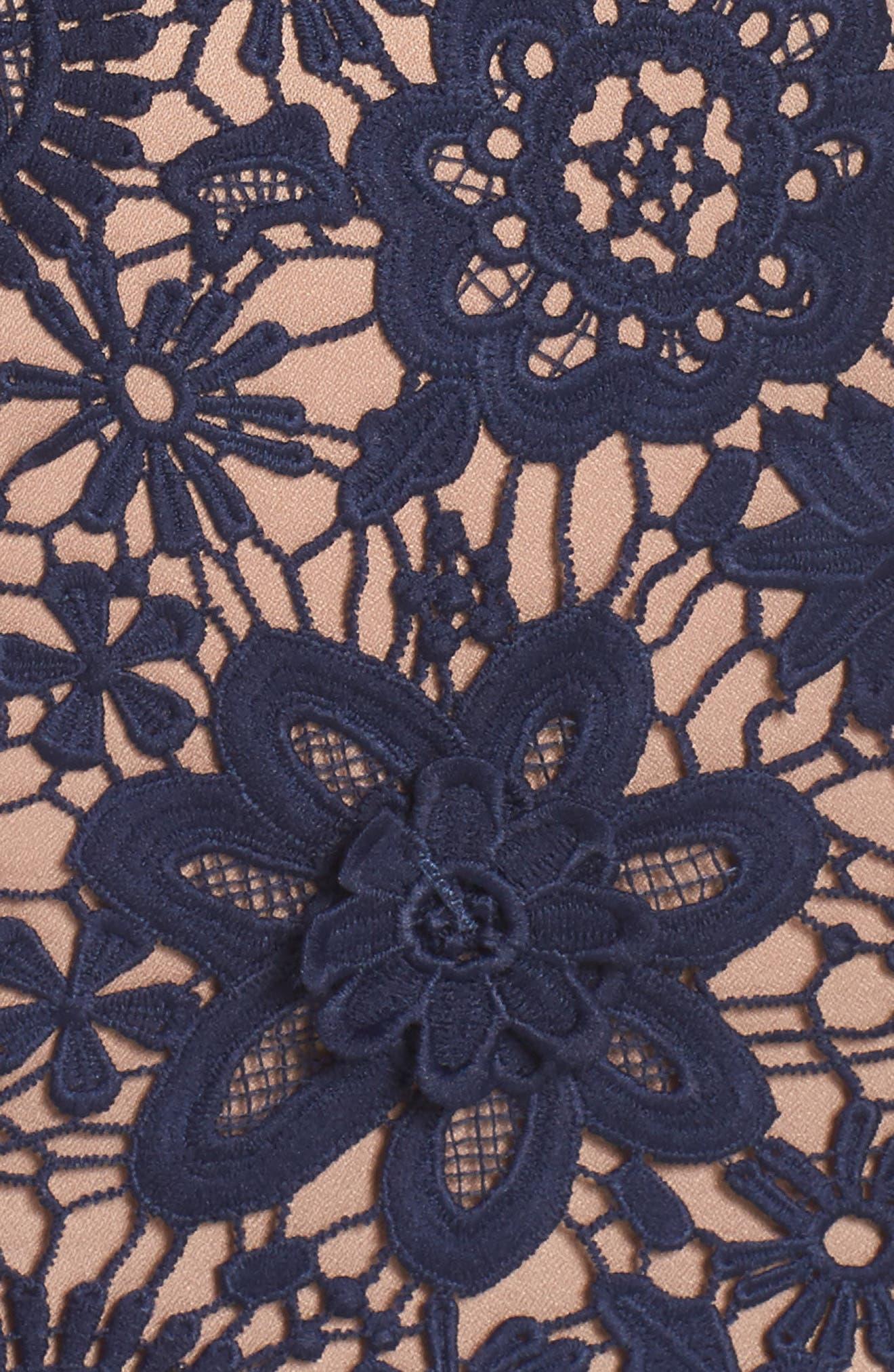 Merrilee Off the Shoulder 3D Lace Dress,                             Alternate thumbnail 5, color,                             NAVY
