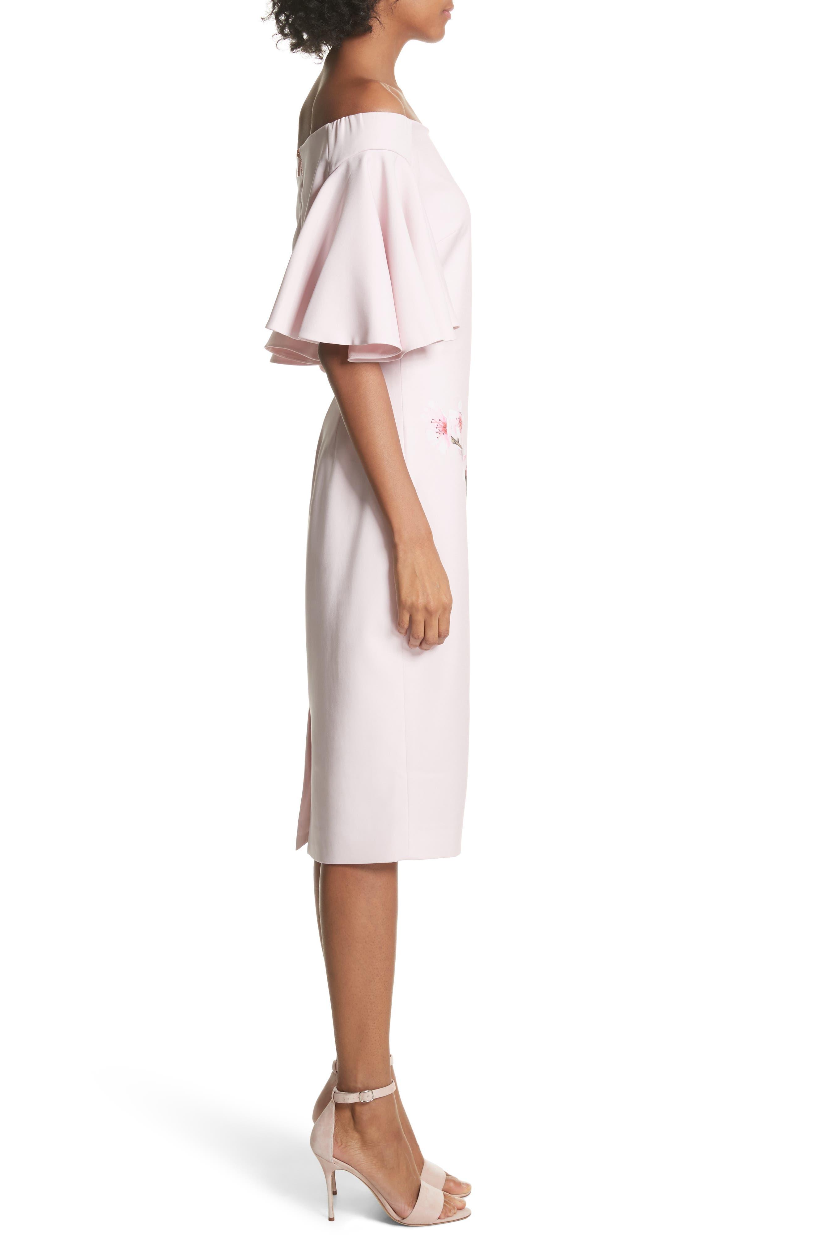 Soft Blossom Off the Shoulder Sheath Dress,                             Alternate thumbnail 3, color,                             683