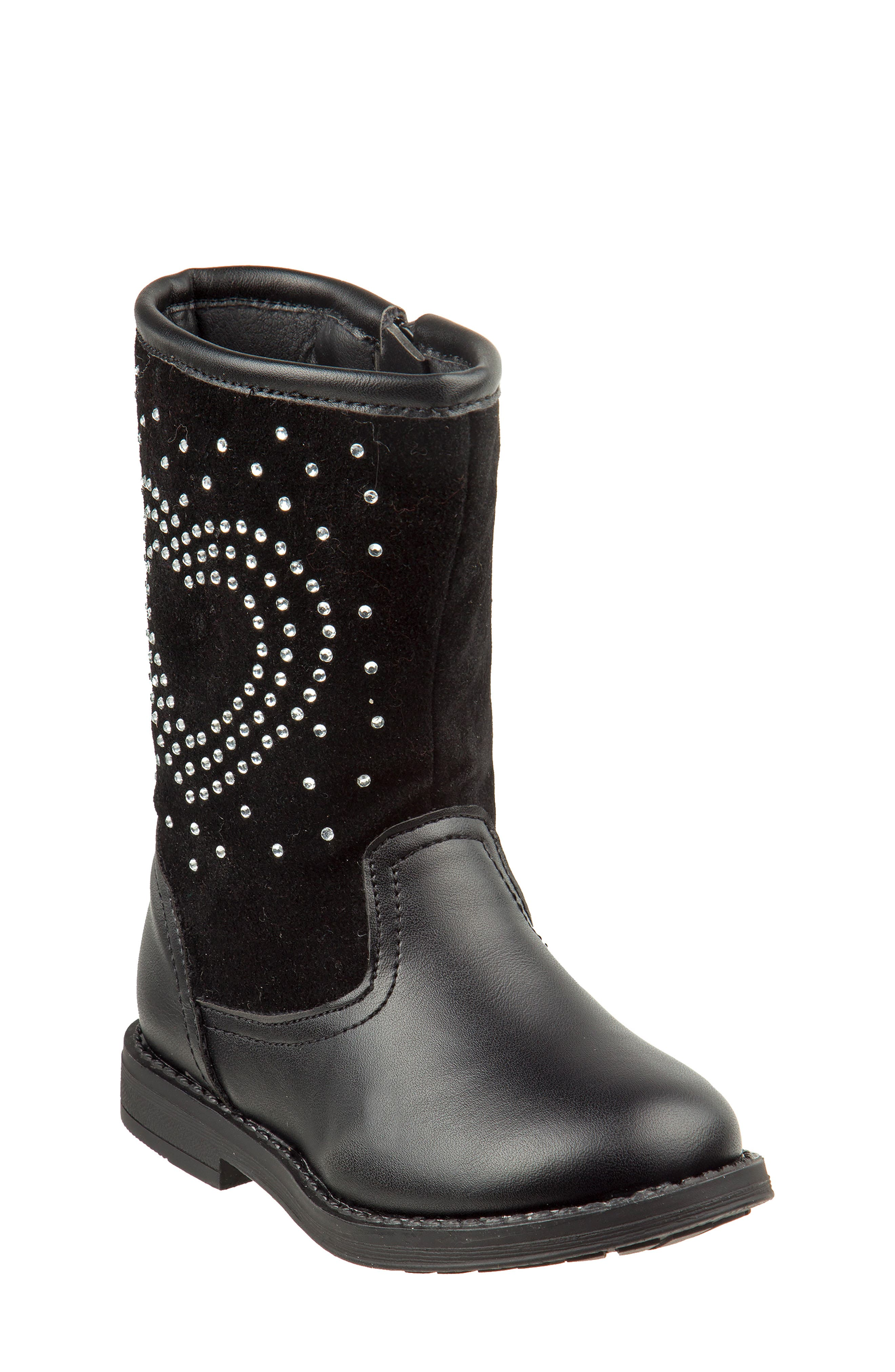 Studded Heart Boot,                             Main thumbnail 1, color,                             BLACK