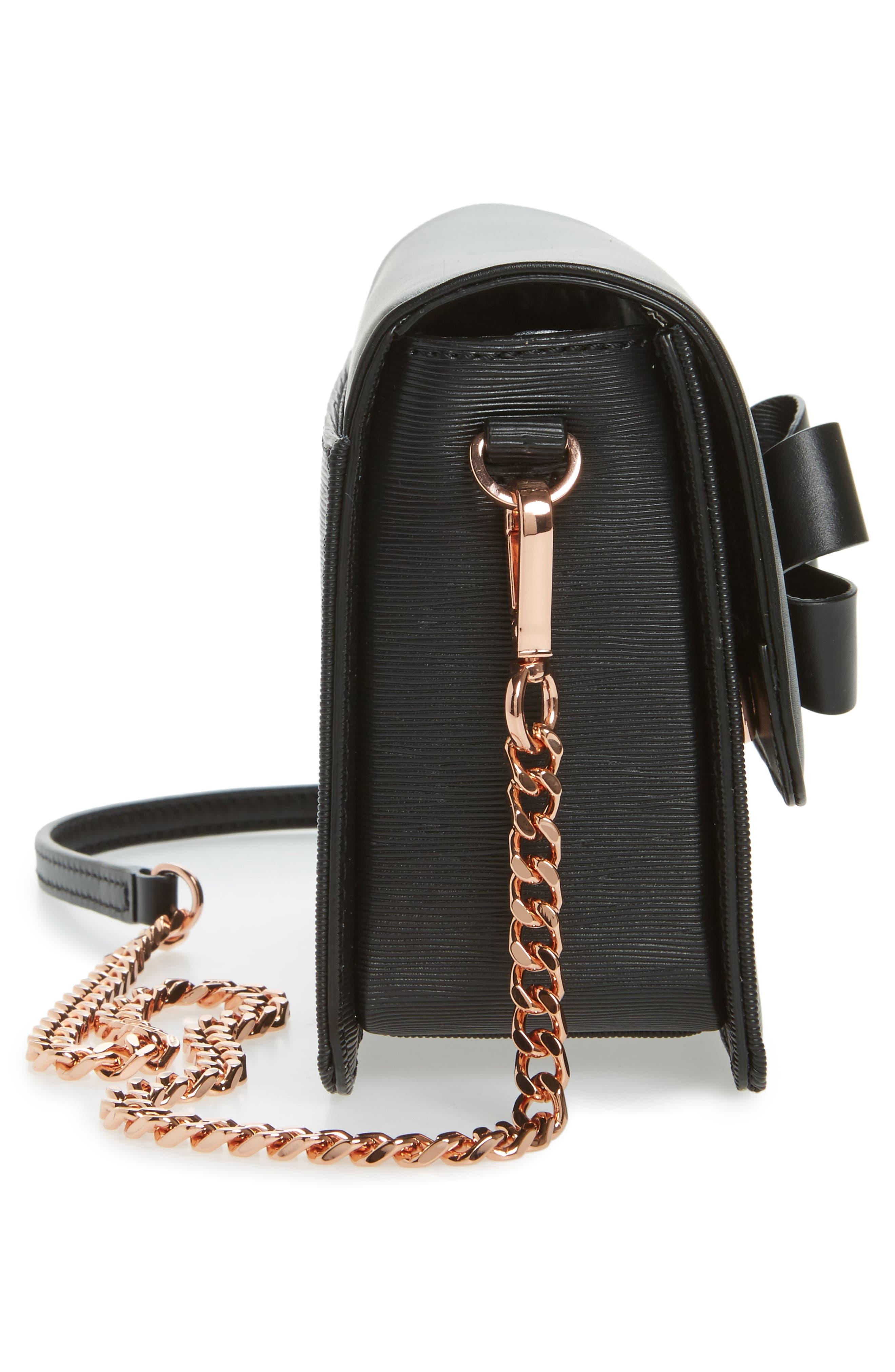 Callih Bow Leather Crossbody Bag,                             Alternate thumbnail 5, color,                             001