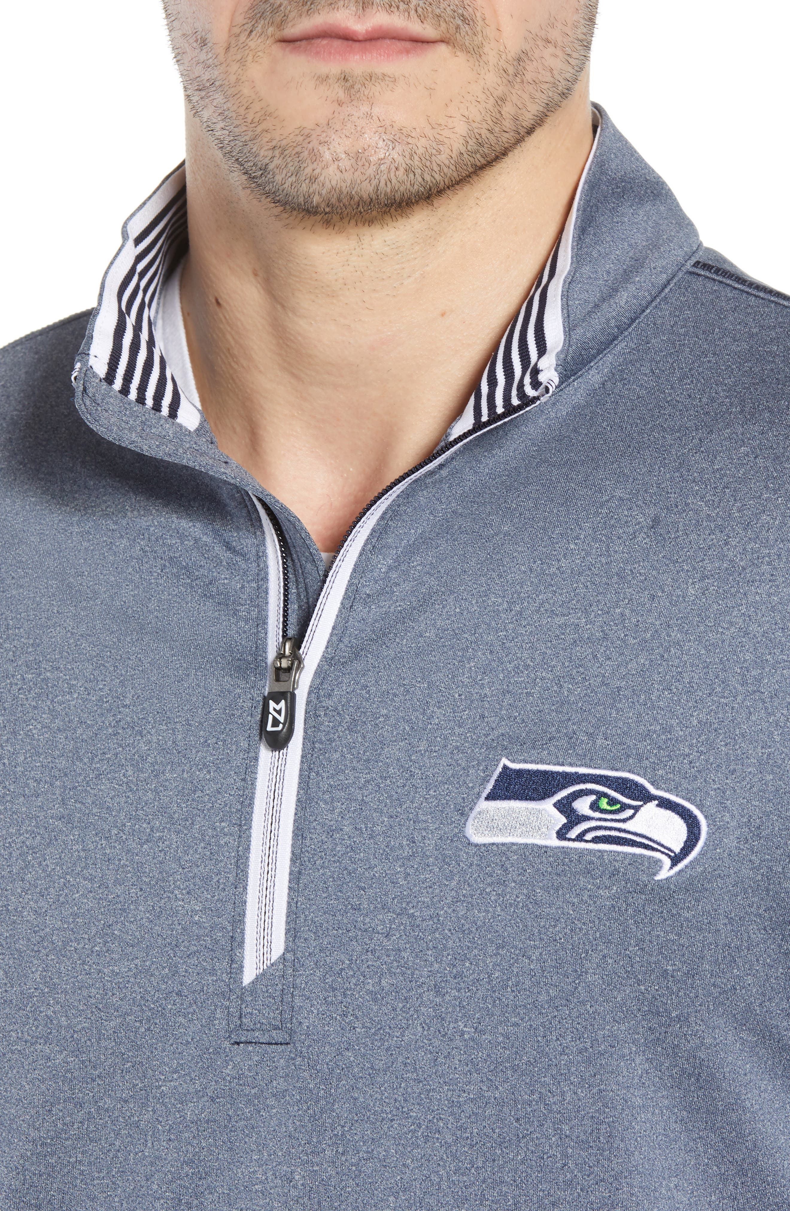 Endurance Seattle Seahawks Regular Fit Pullover,                             Alternate thumbnail 4, color,                             LIBERTY NAVY HEATHER
