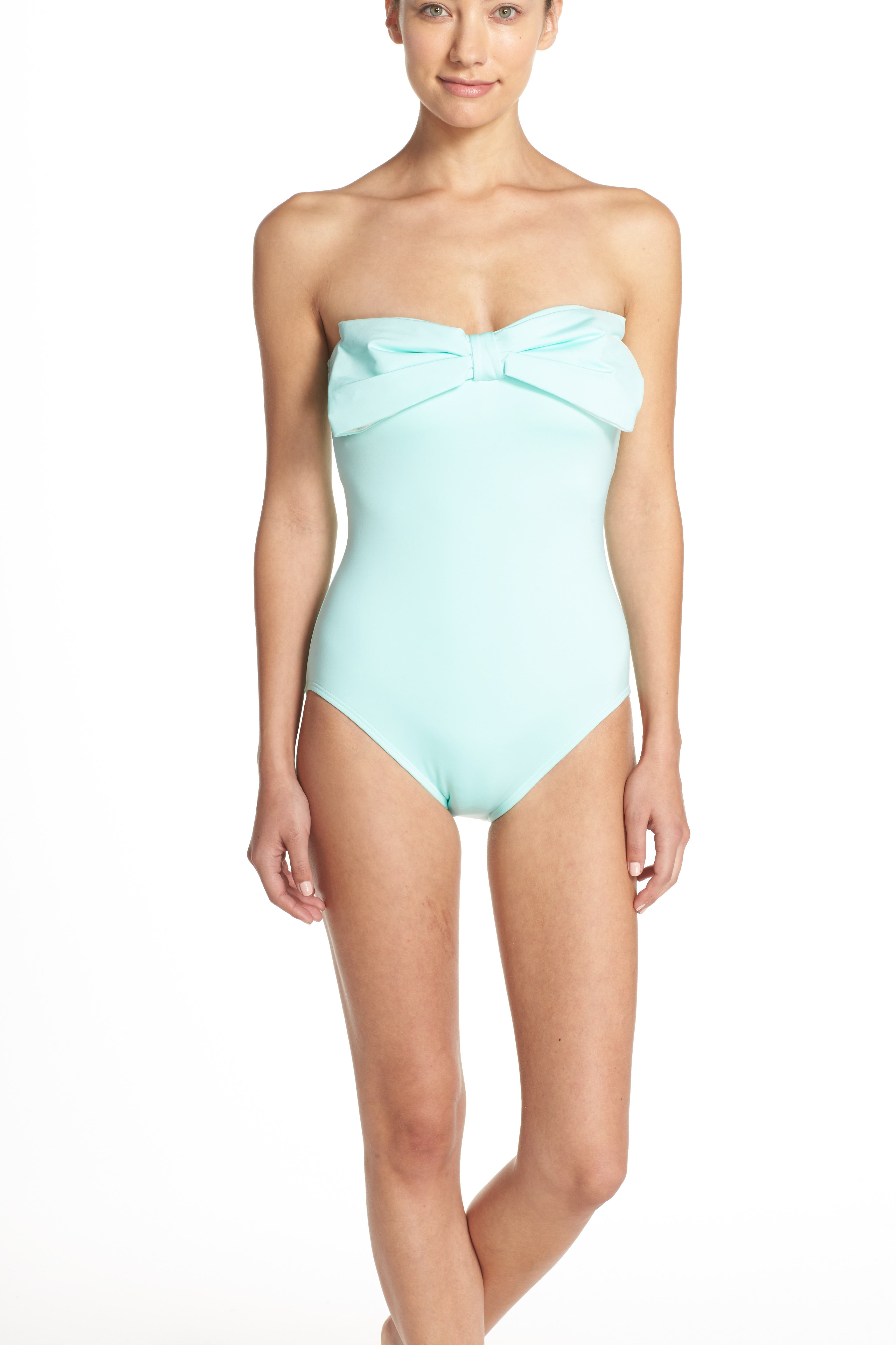 bow neck one-piece swimsuit,                             Alternate thumbnail 6, color,