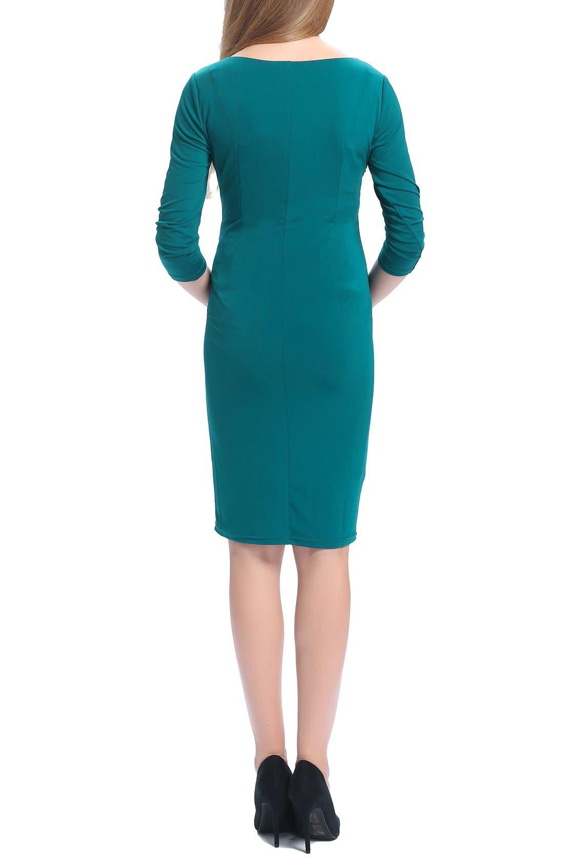 Teagan Body-Con Maternity Dress,                             Alternate thumbnail 4, color,                             TEAL
