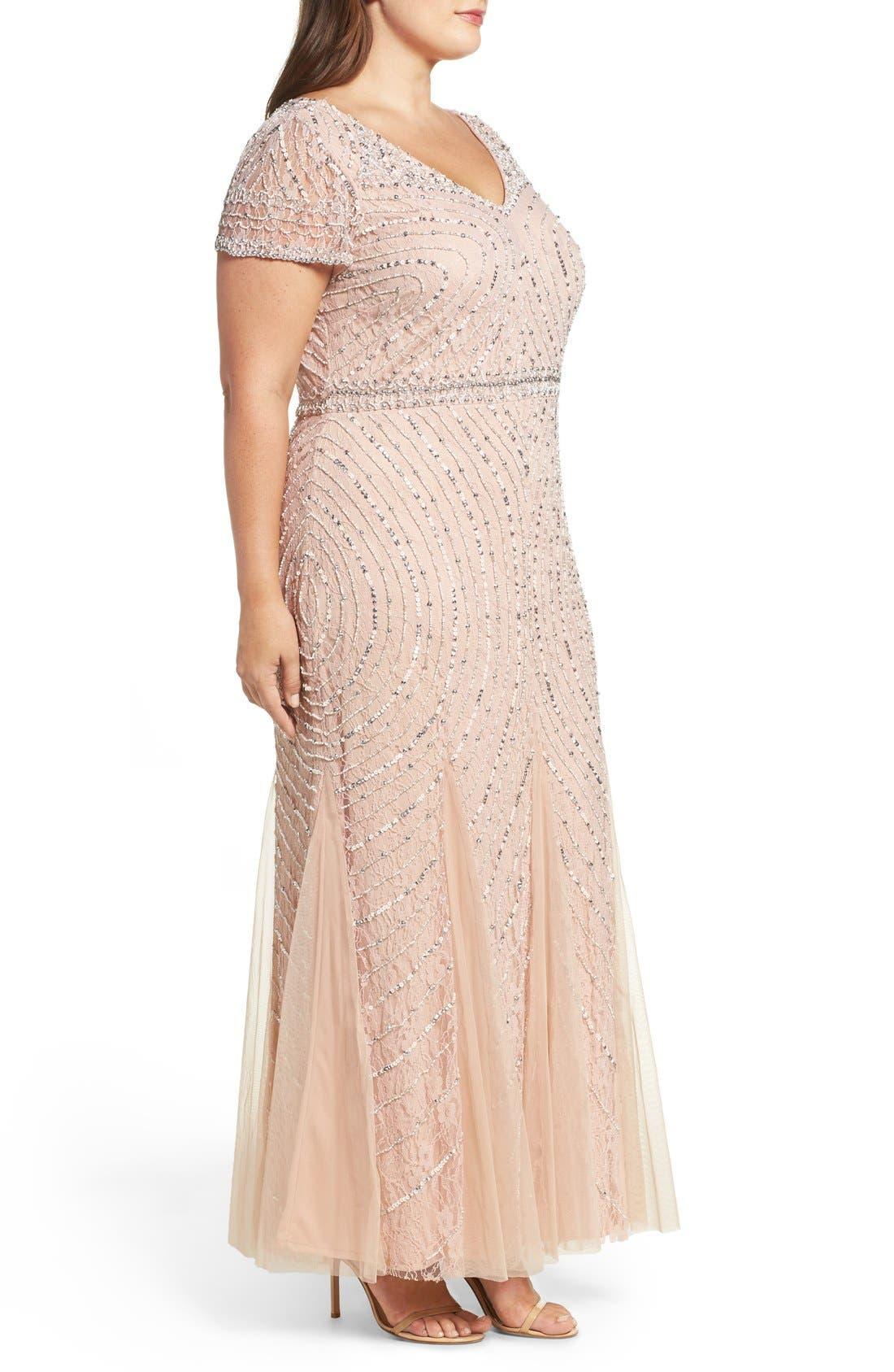 Sequin Lace A-Line Gown,                             Alternate thumbnail 4, color,                             269