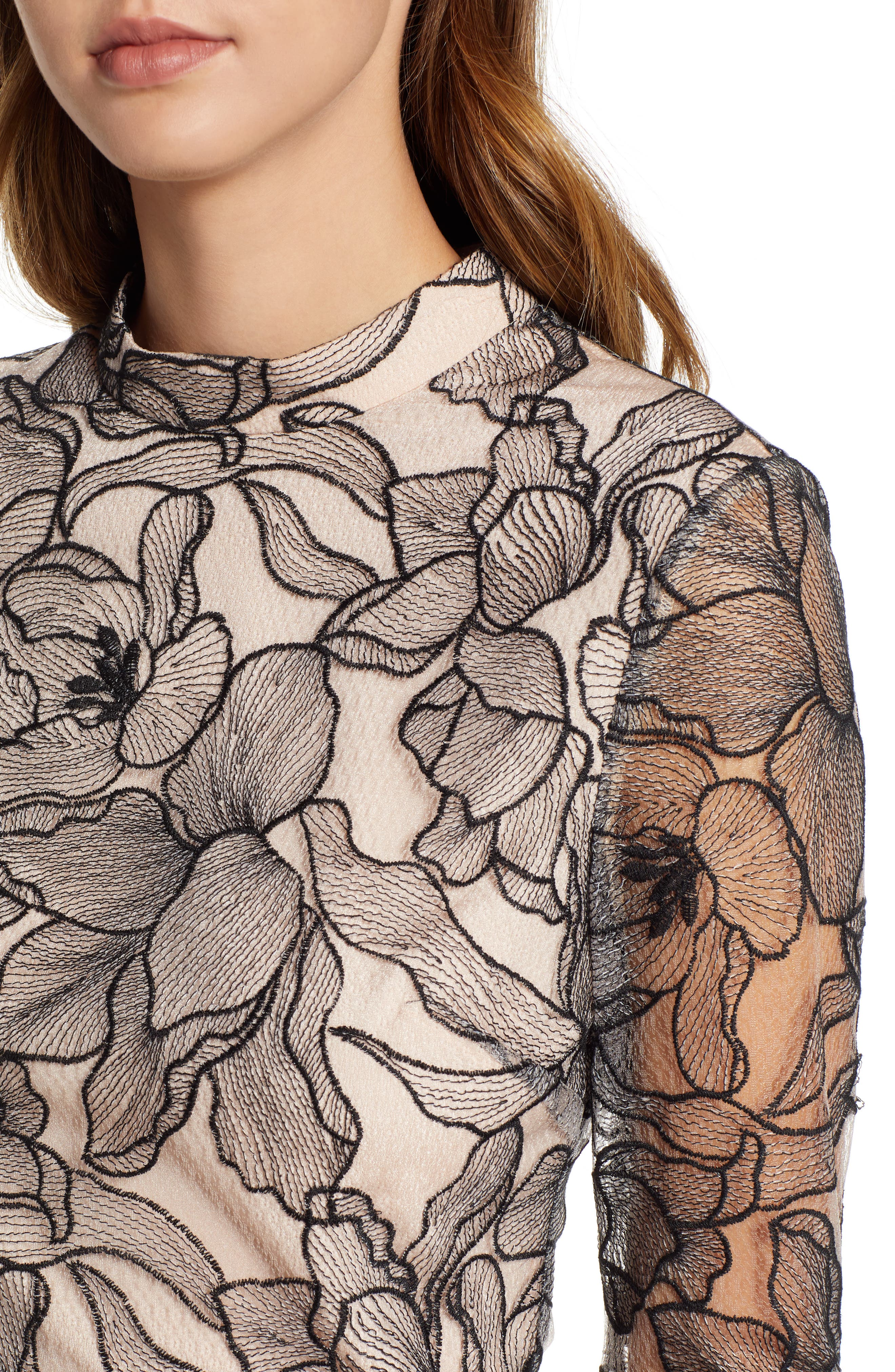 Mina Cropped Lace Top,                             Alternate thumbnail 4, color,                             BLACK NUDE LACE
