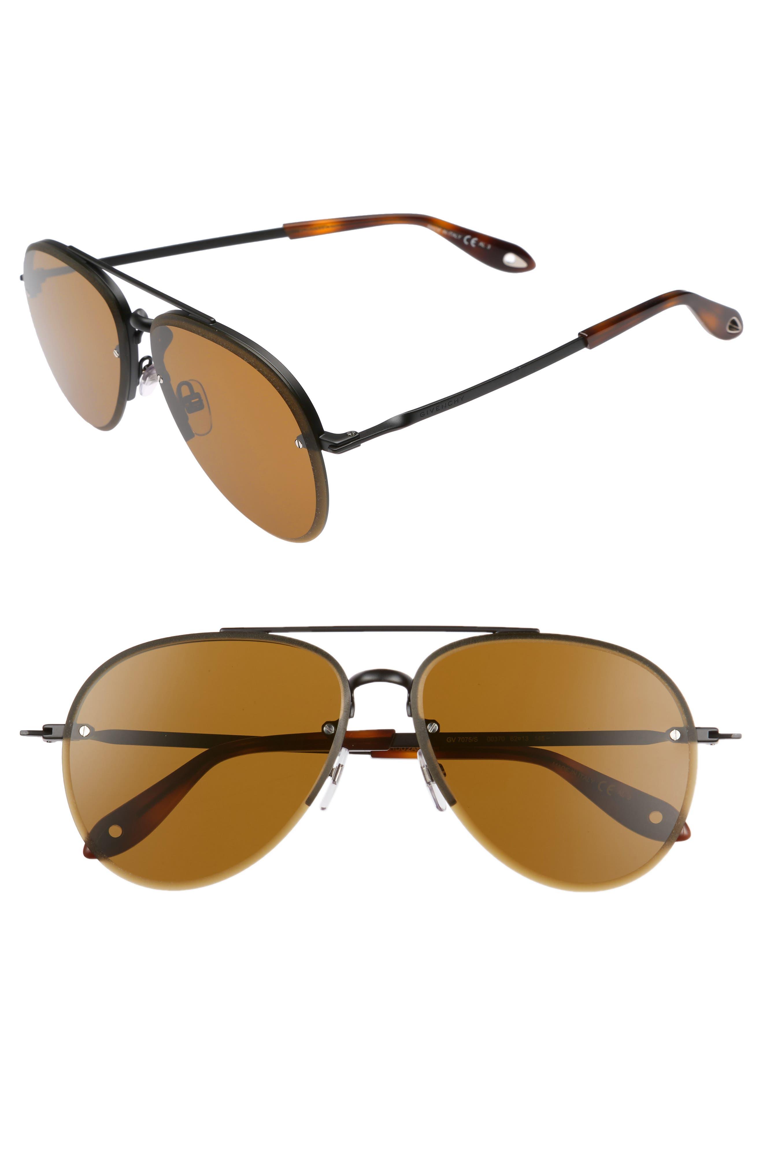 62mm Oversize Aviator Sunglasses,                         Main,                         color, 001