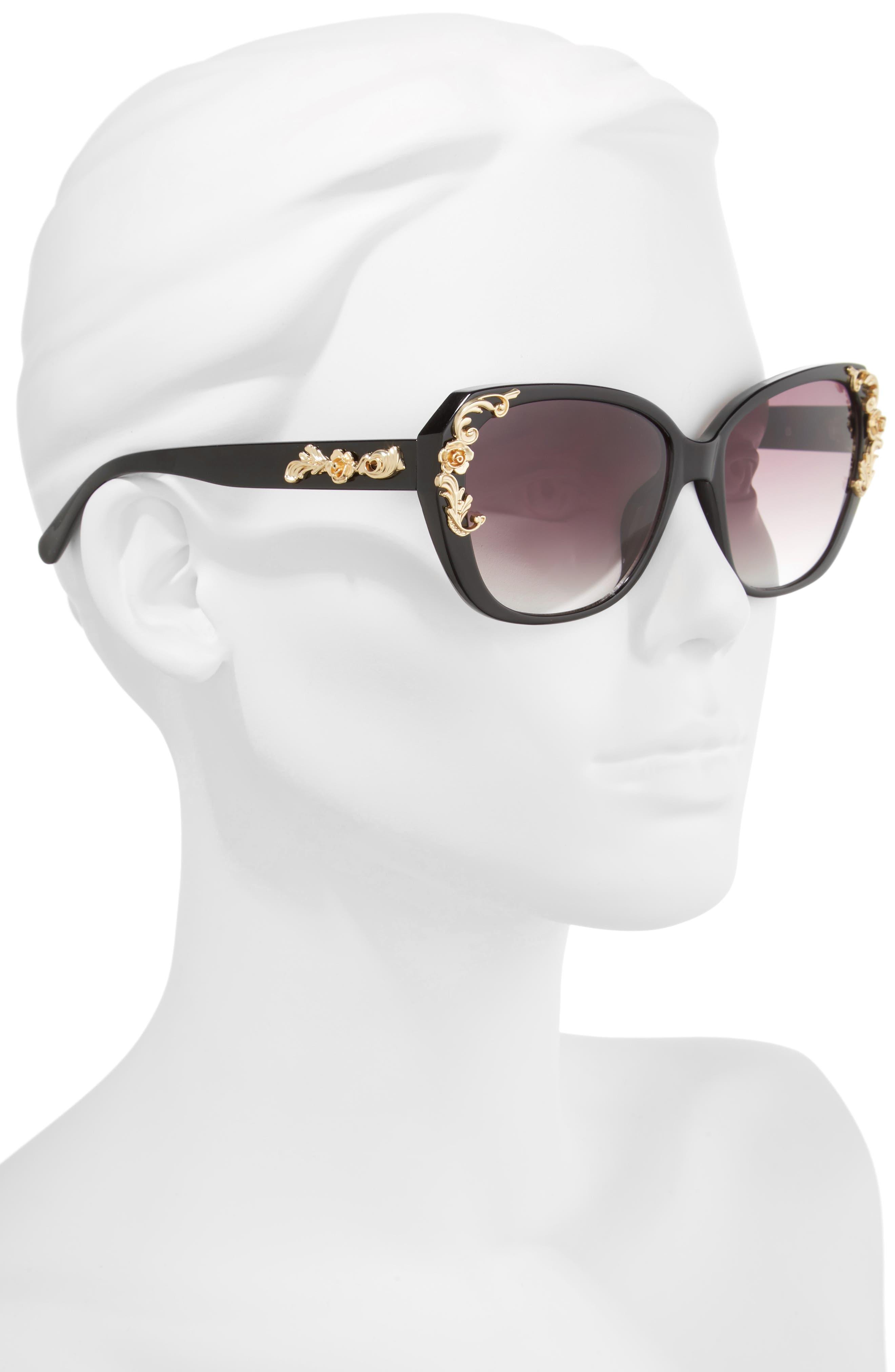 56mm Filigree Embellished Square Sunglasses,                             Alternate thumbnail 2, color,                             005