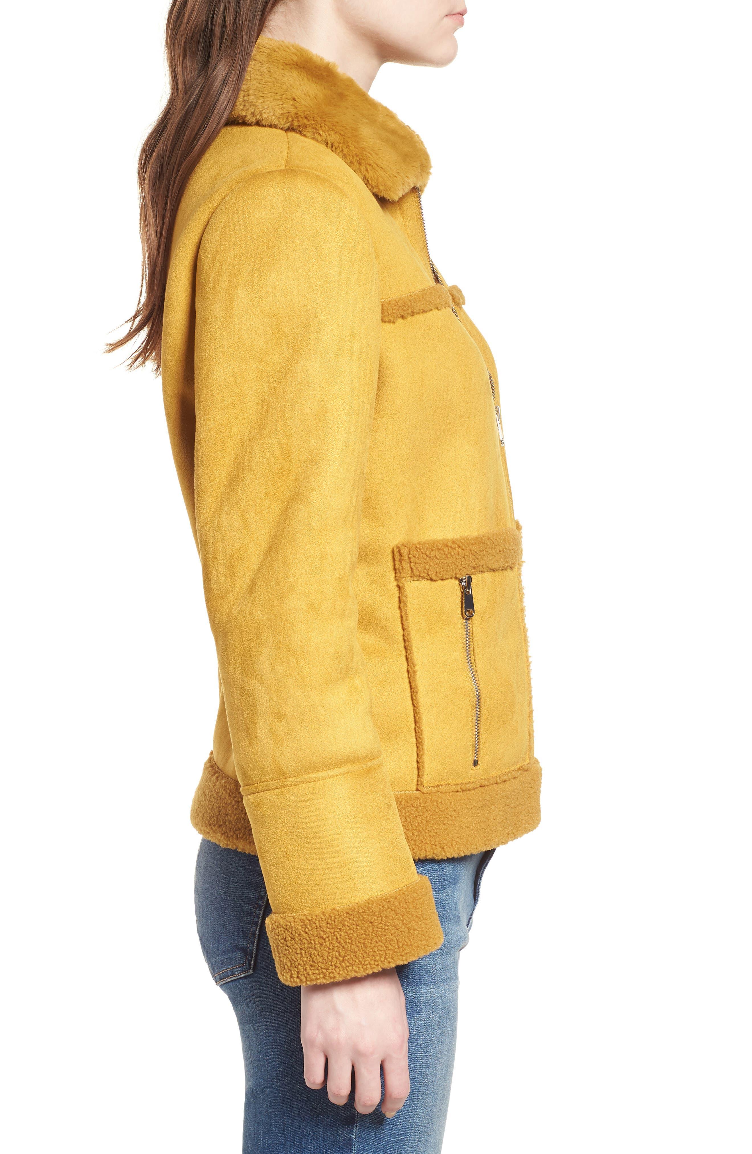Faux Shearling Zip Front Jacket,                             Alternate thumbnail 3, color,                             702