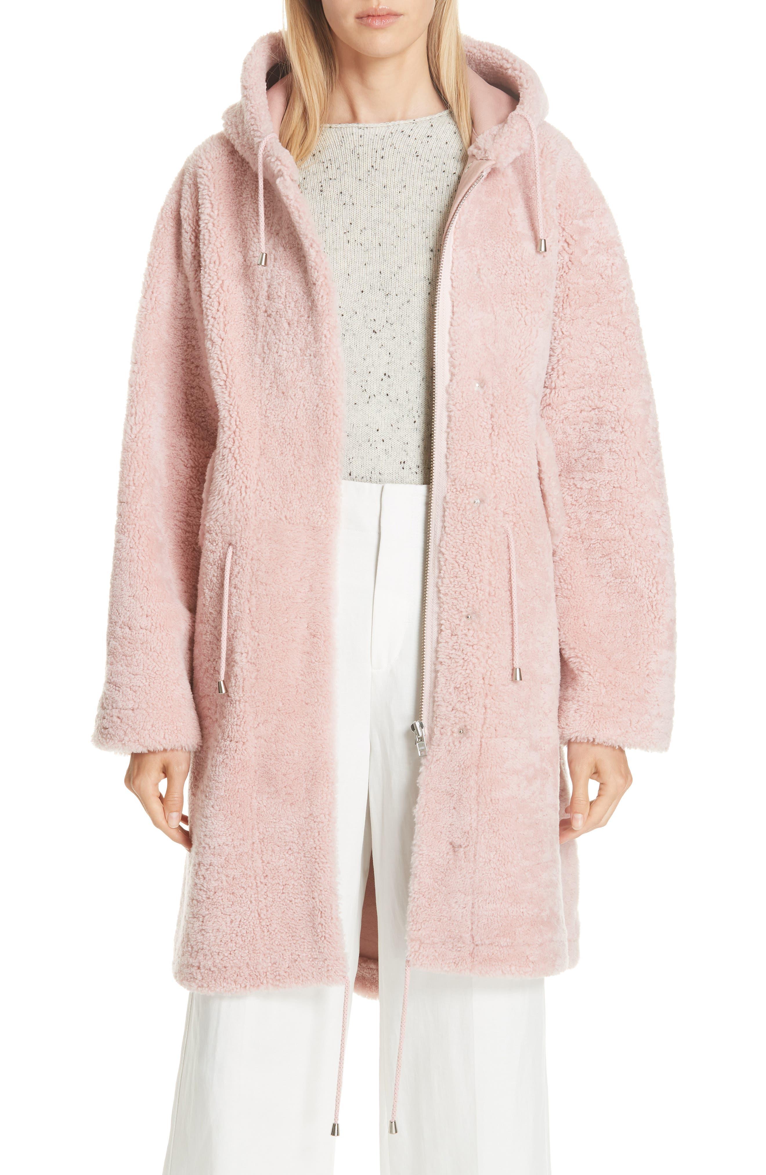 Anne Vest Parker Genuine Shearling Hooded Coat, 4 DE - Pink