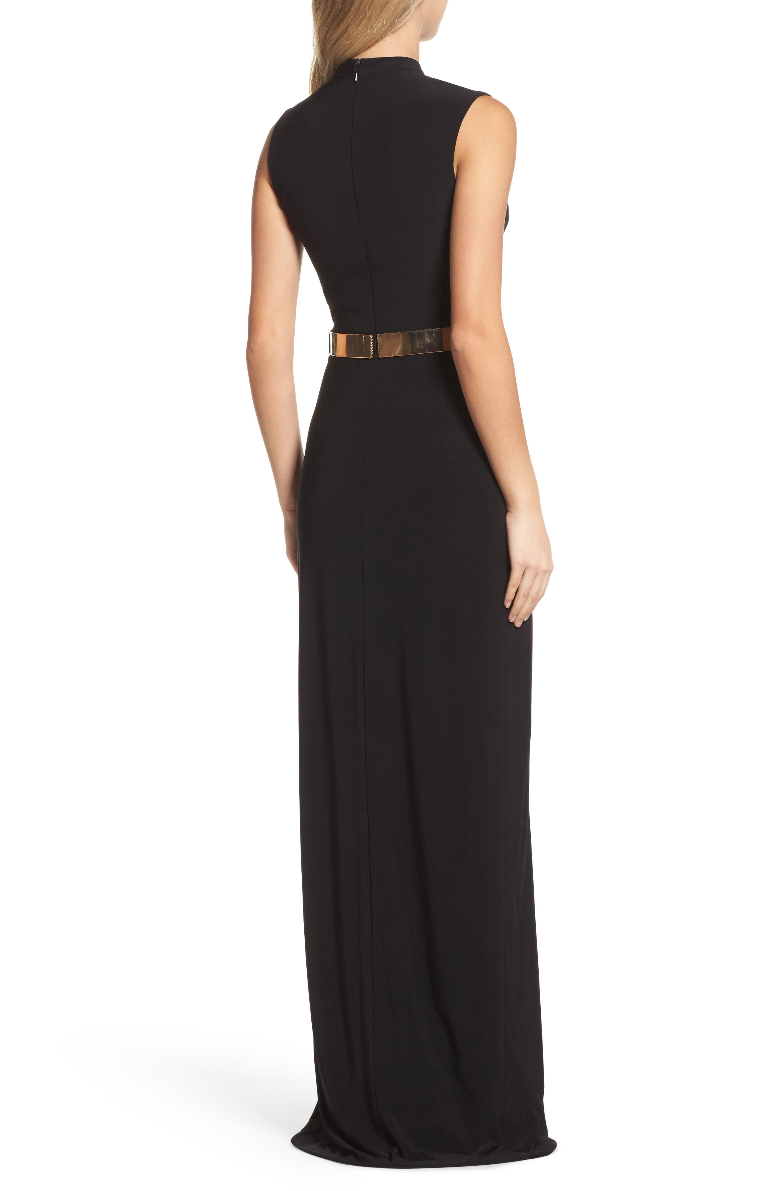 Belted Mock Neck Sheath Gown,                             Alternate thumbnail 2, color,                             001