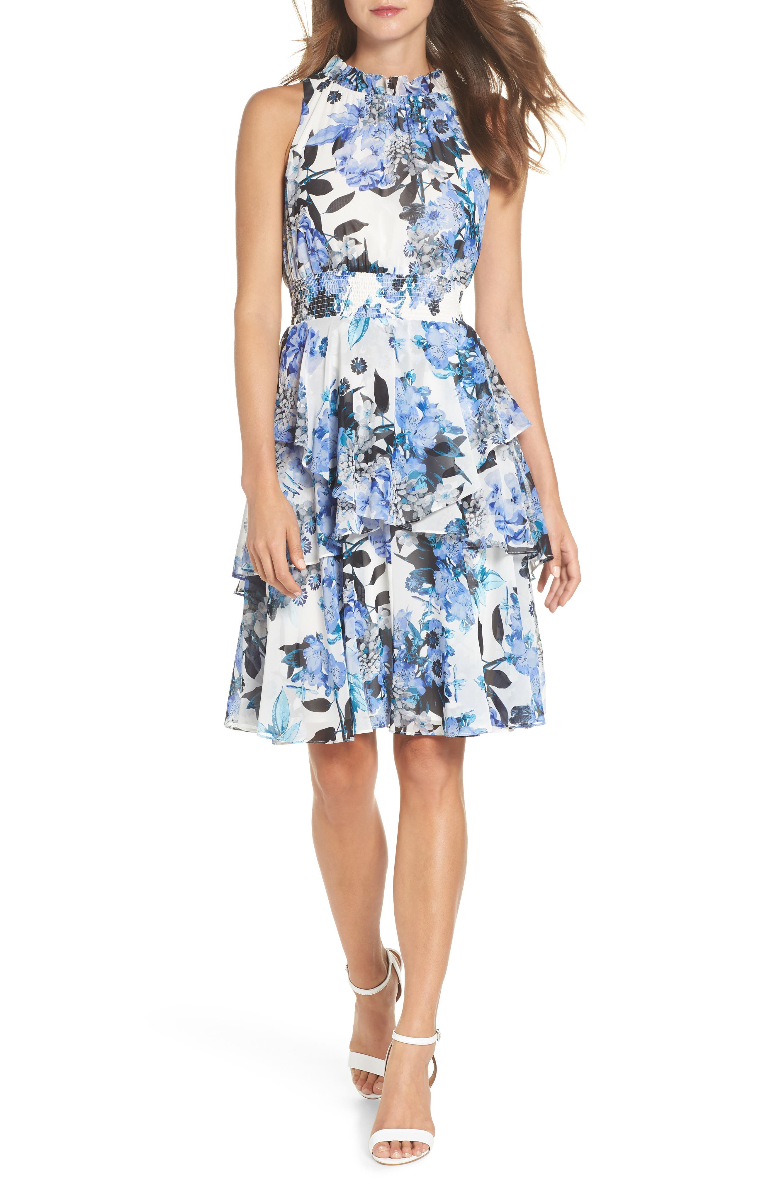 Smocked Waist Ruffle Chiffon Dress,                             Main thumbnail 1, color,                             421