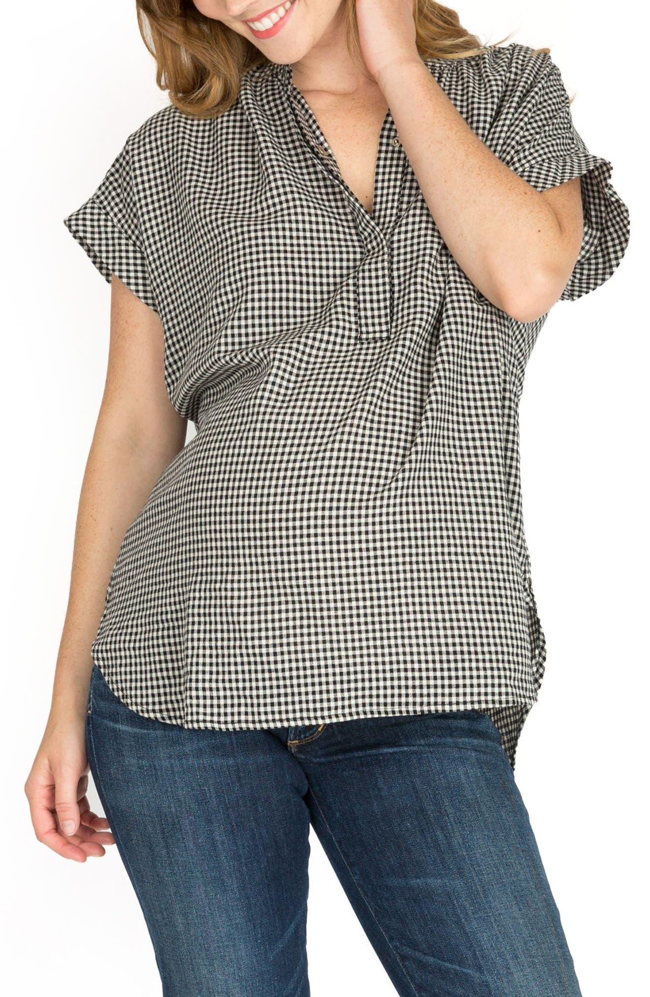 Iris High/Low Maternity/Nursing Blouse,                             Main thumbnail 1, color,                             GINGHAM