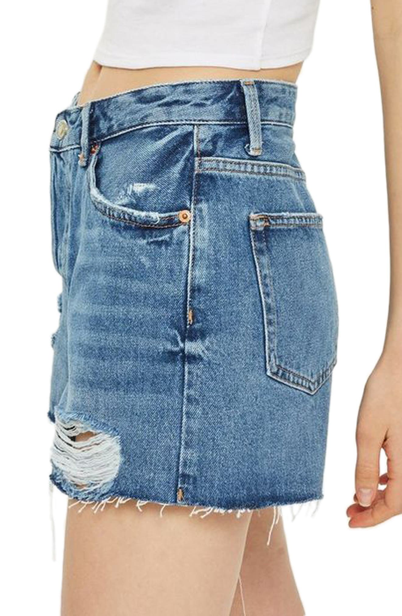 Ashley Ripped Boyfriend Shorts,                             Alternate thumbnail 3, color,                             MID DENIM