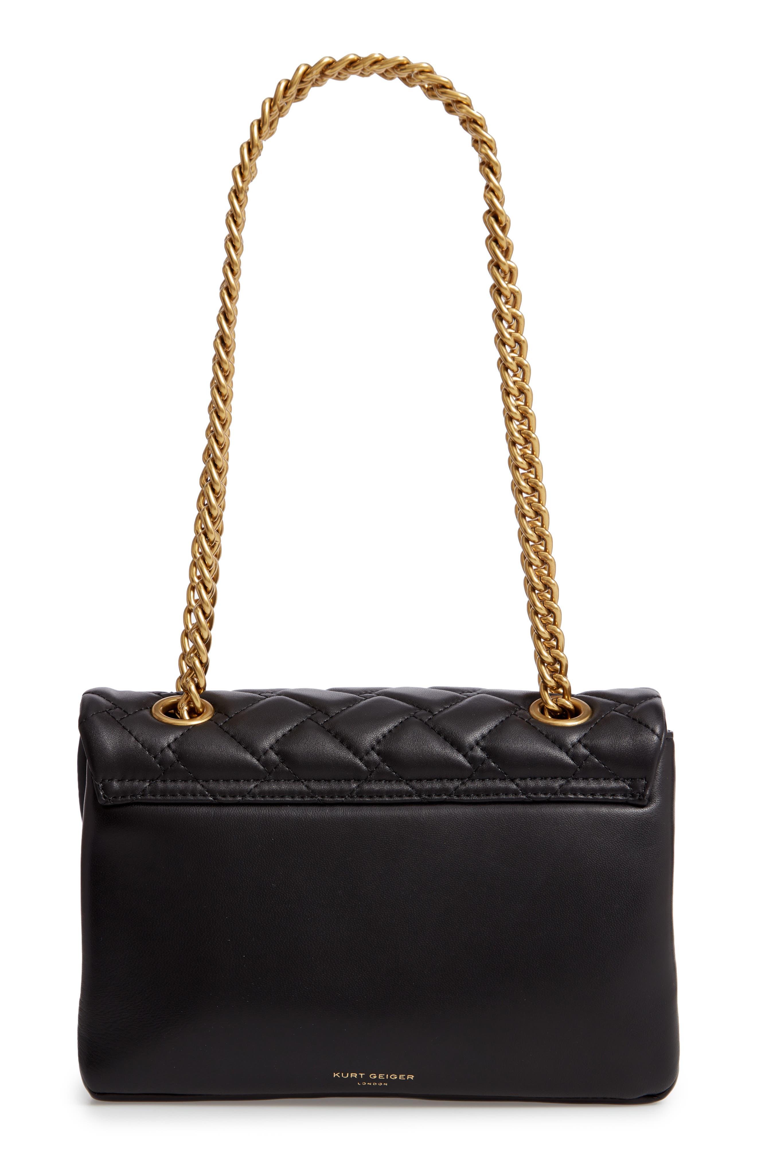 KURT GEIGER LONDON,                             Kensington Quilted Leather Shoulder Bag,                             Alternate thumbnail 3, color,                             BLACK