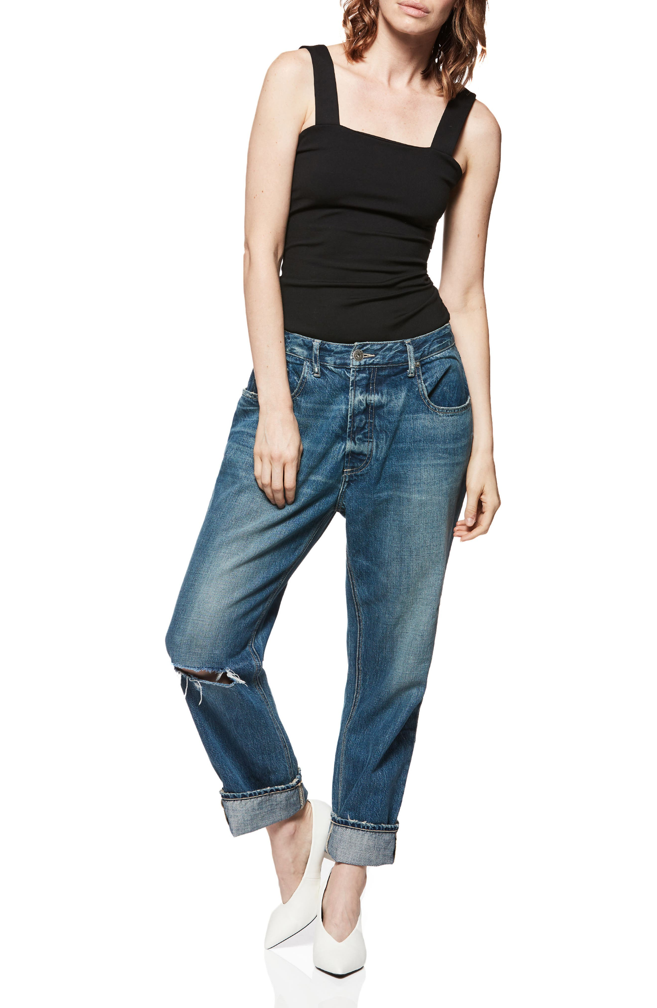 Mikey Mike Ripped Boyfriend Jeans,                             Alternate thumbnail 3, color,                             400