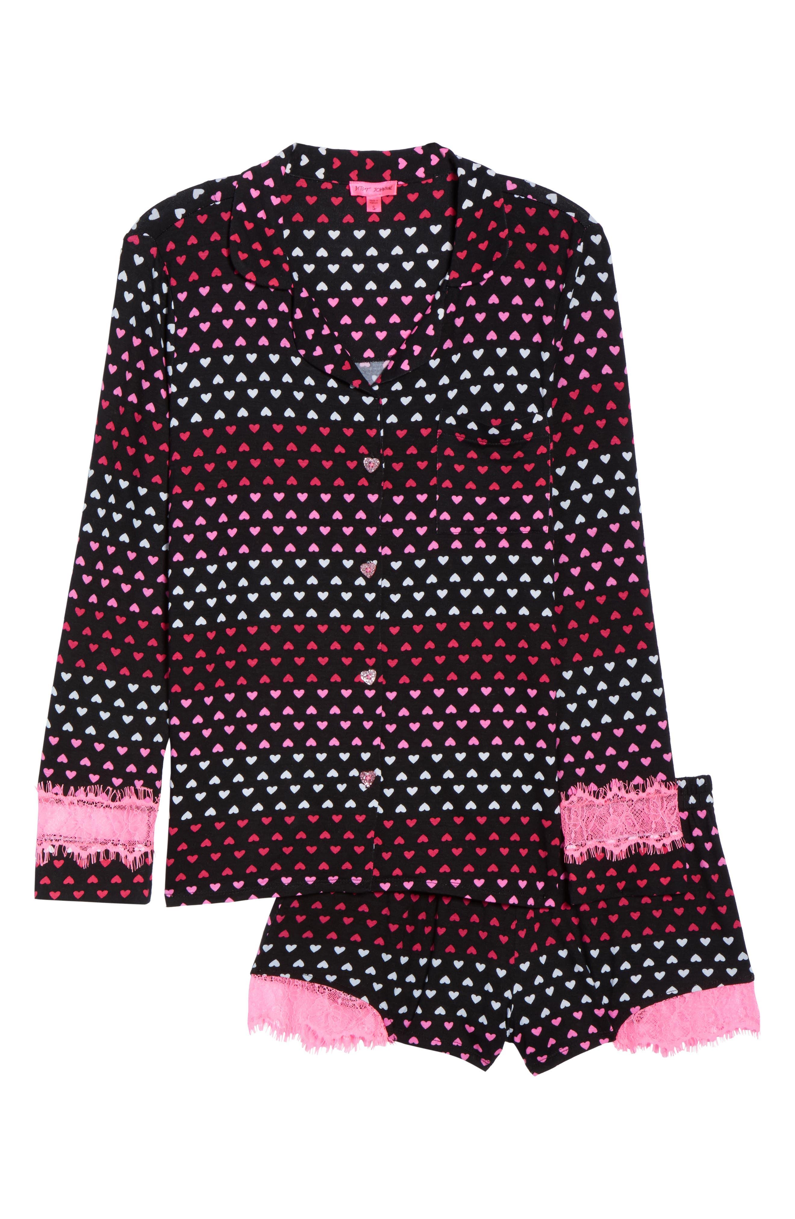Notch Collar Short Pajamas,                             Alternate thumbnail 18, color,
