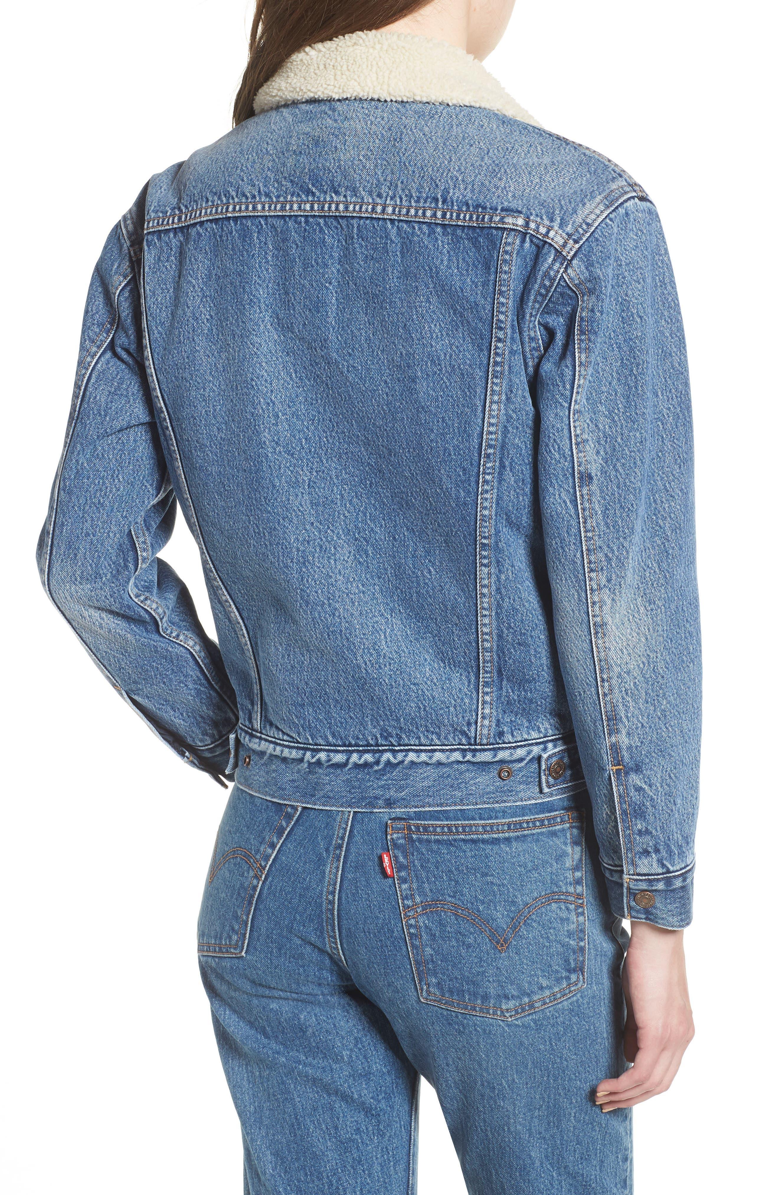 Ex-Boyfriend Fleece Lined Denim Jacket,                             Alternate thumbnail 2, color,                             ADDICTED TO LOVE