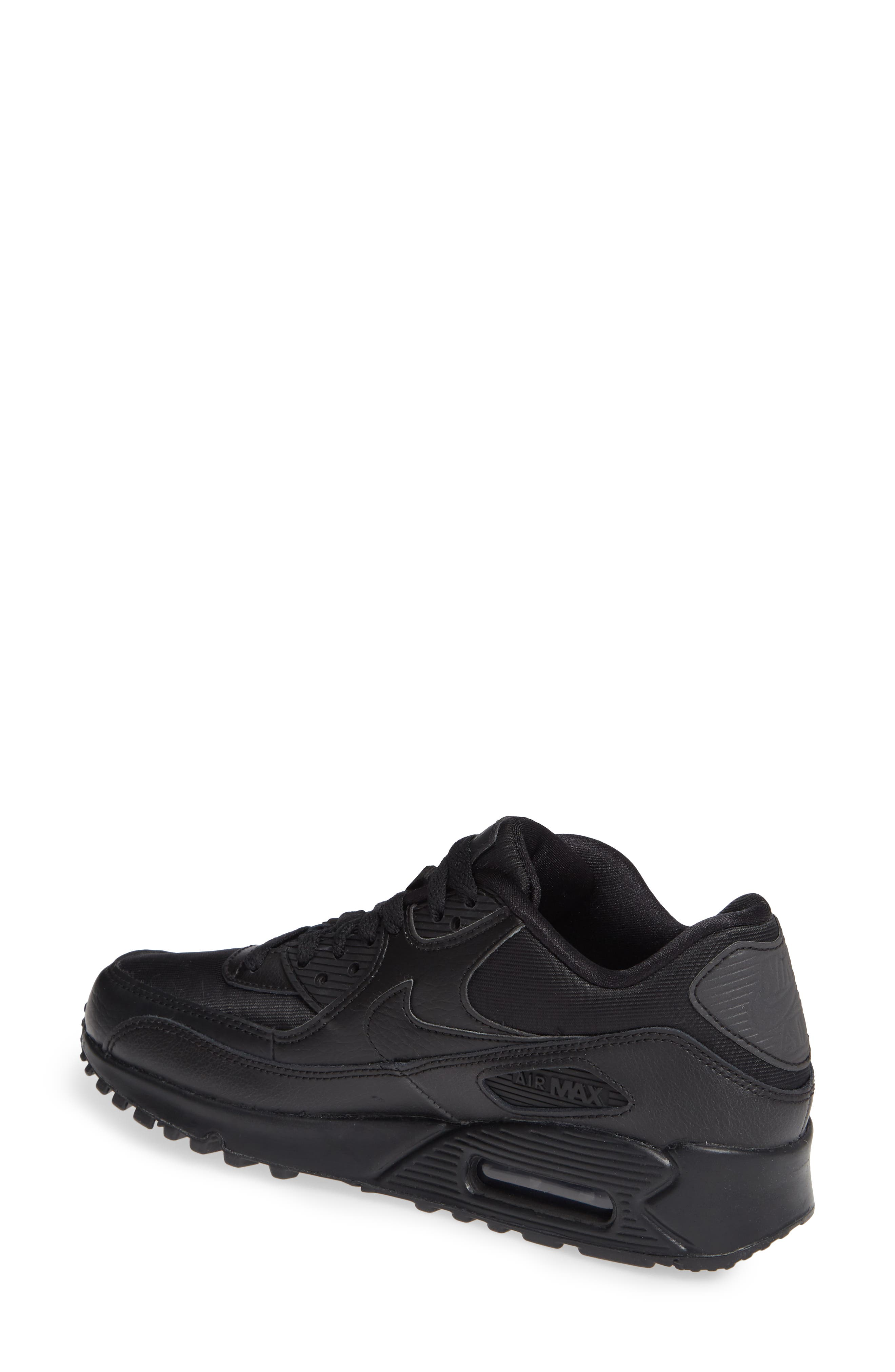 'Air Max 90' Sneaker,                             Alternate thumbnail 2, color,                             BLACK/ BLACK-BLACK
