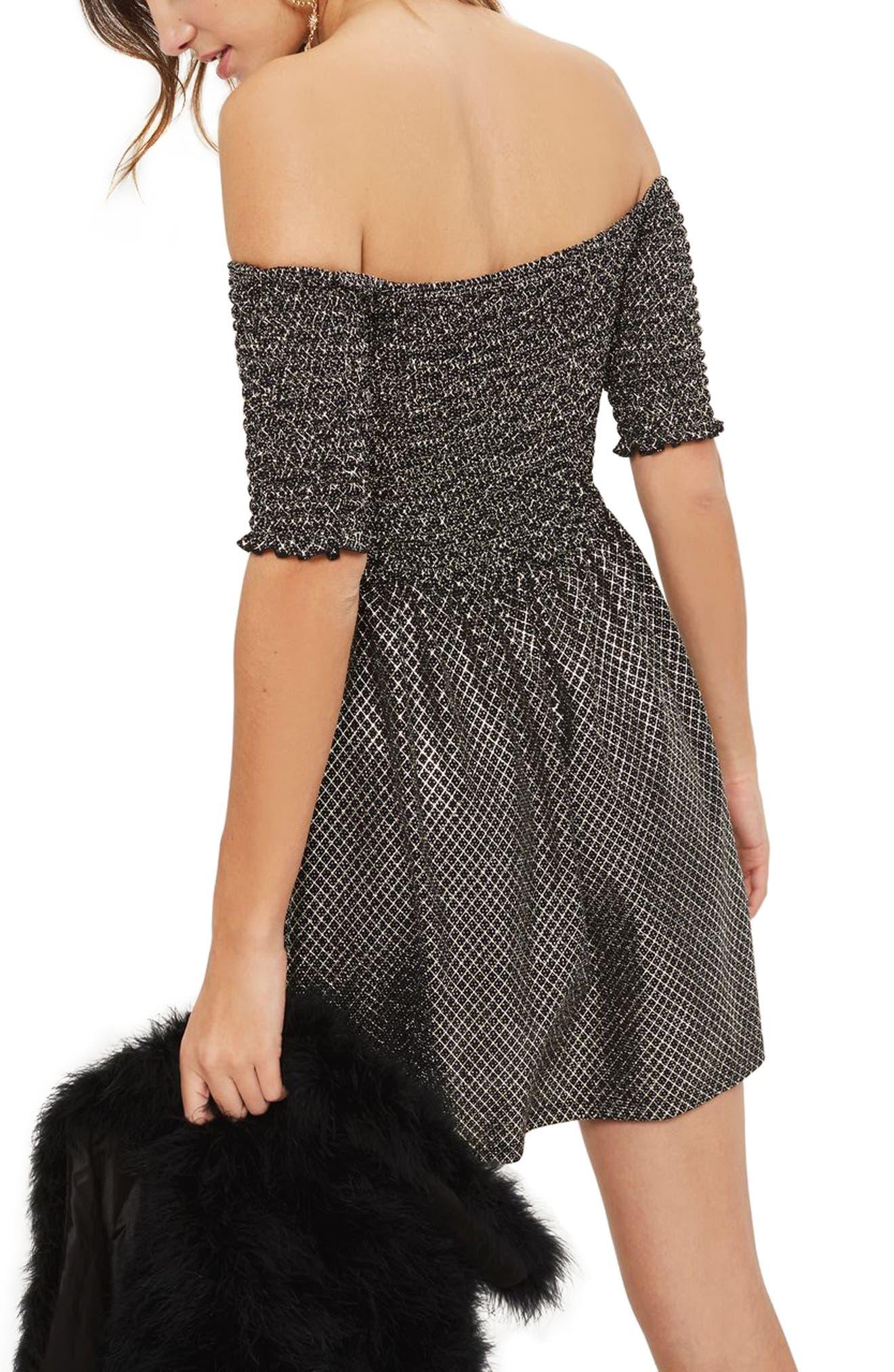 Smocked Off the Shoulder Dress,                             Alternate thumbnail 2, color,