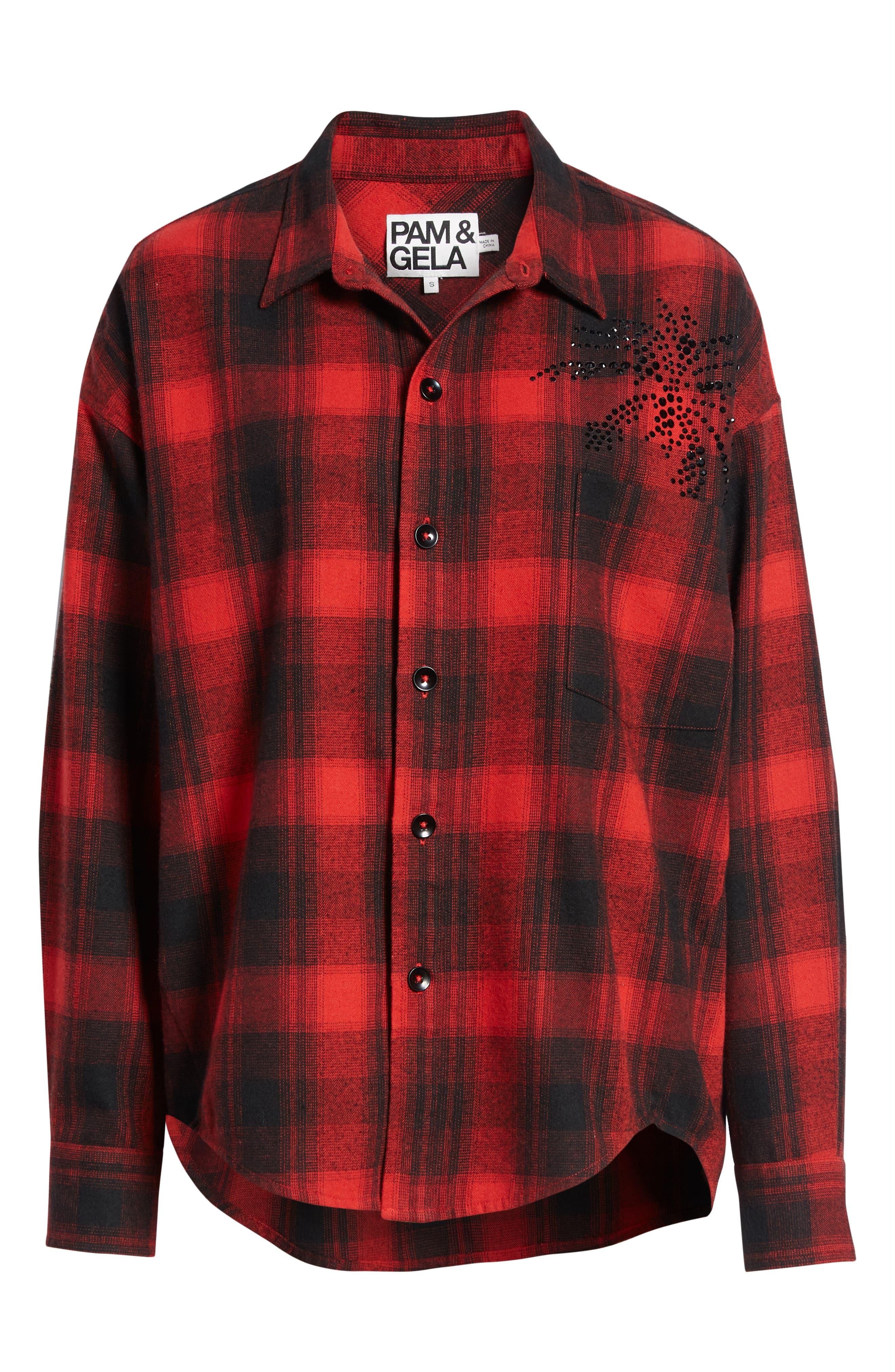 Plaid Embellished Oversize Shirt,                             Alternate thumbnail 6, color,                             RED/ BLACK