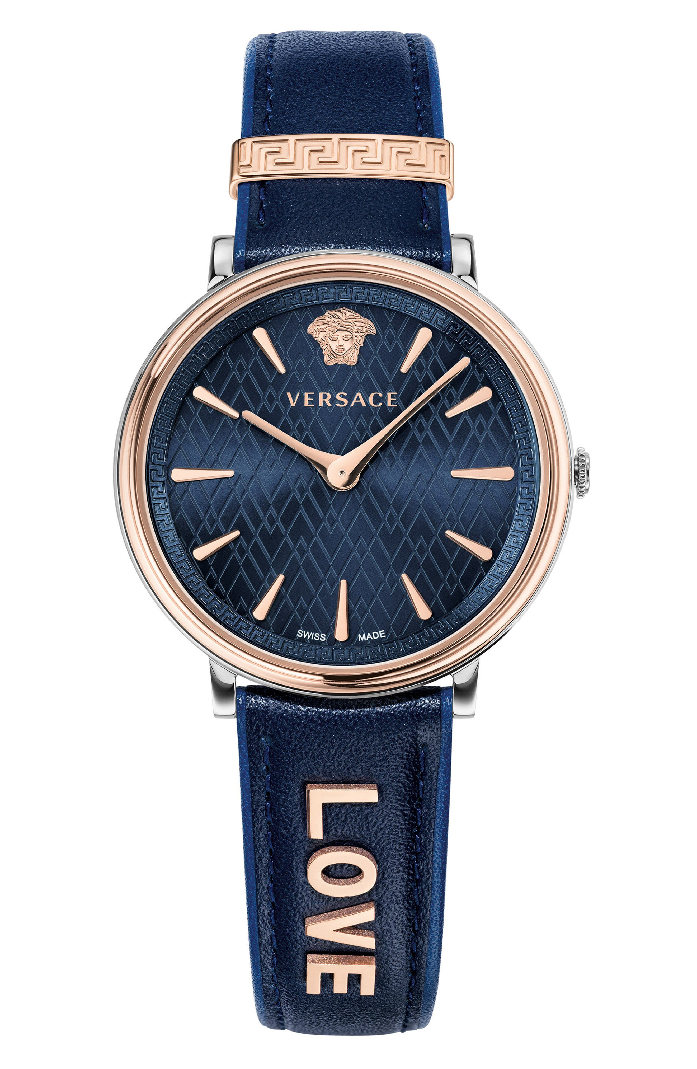 Manifesto Leather Strap Watch, 38mm,                         Main,                         color, BLUE/ ROSE GOLD