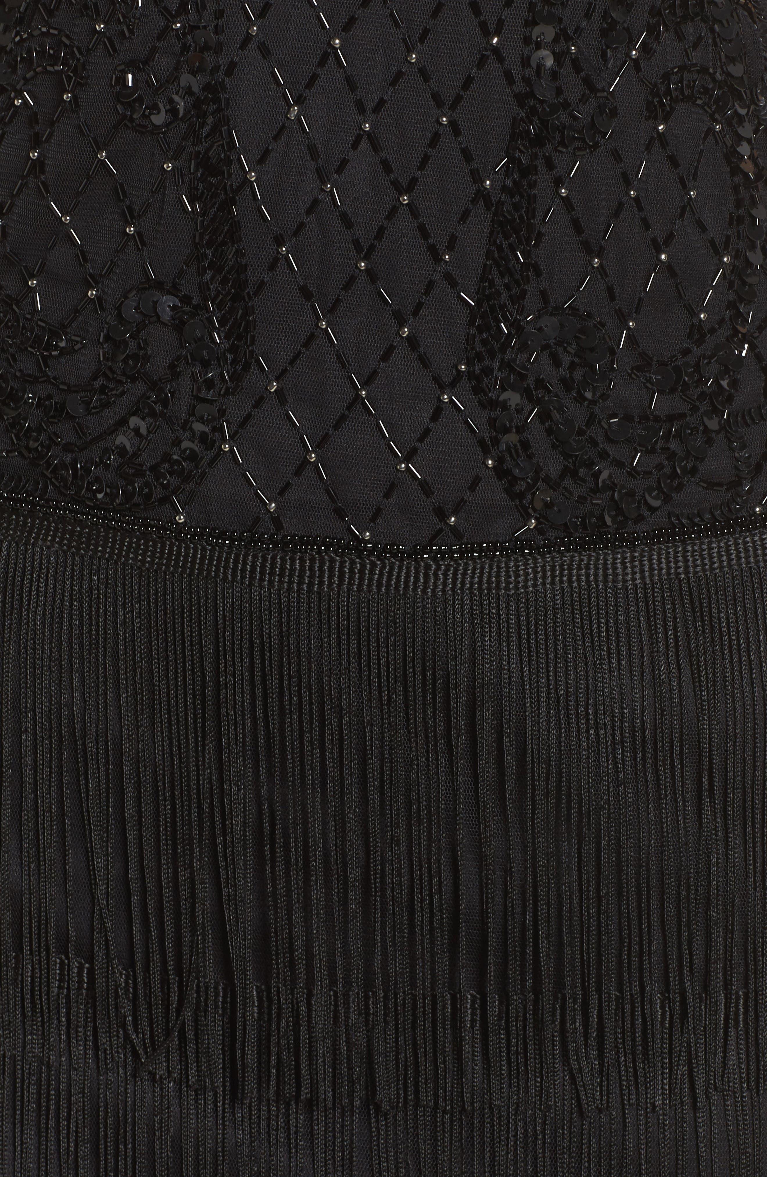 Embellished Fringe Tiered Sheath Dress,                             Alternate thumbnail 5, color,                             001