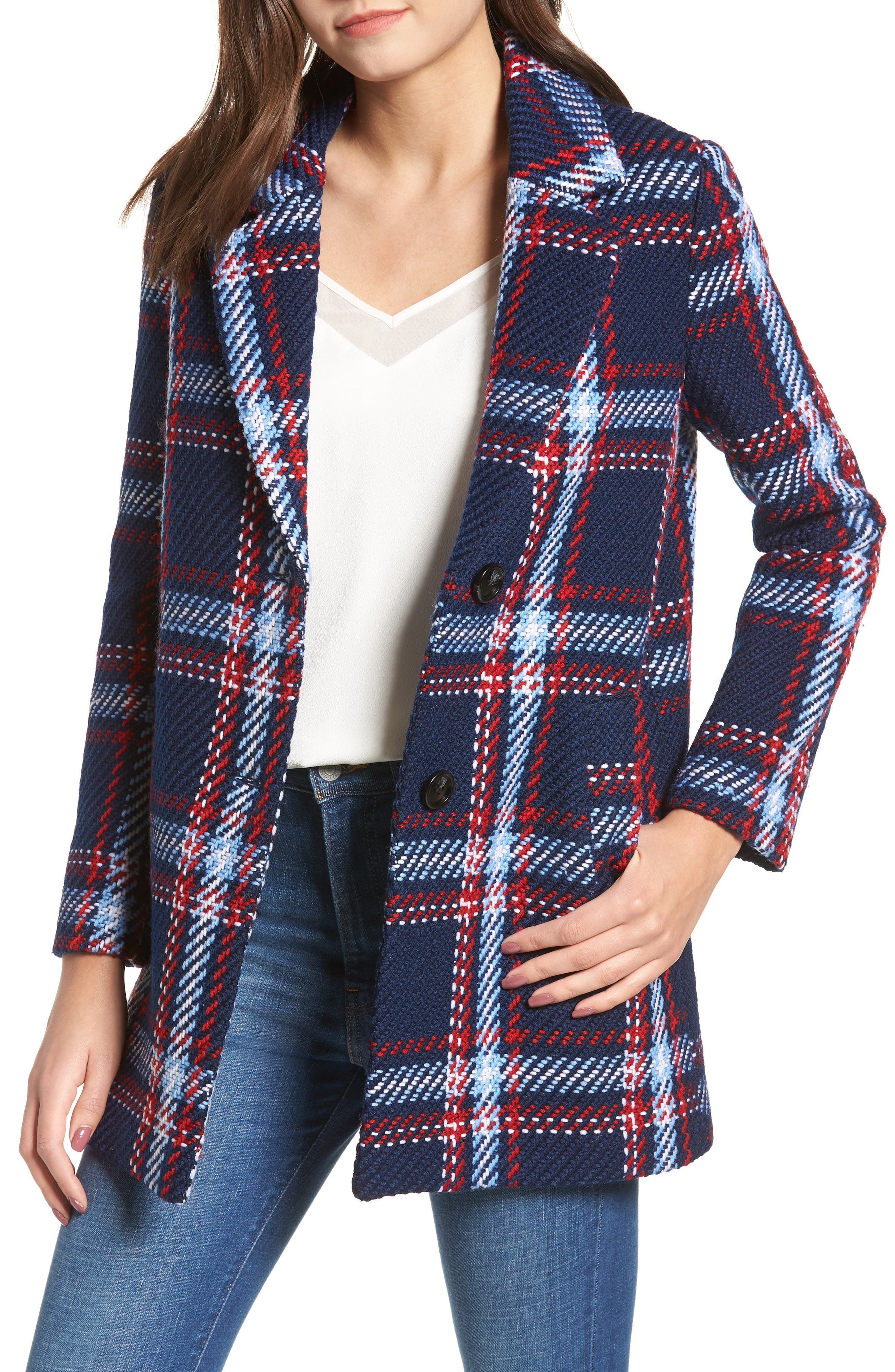 Single Breasted Plaid Coat in Checkered (Blue Red Multi)