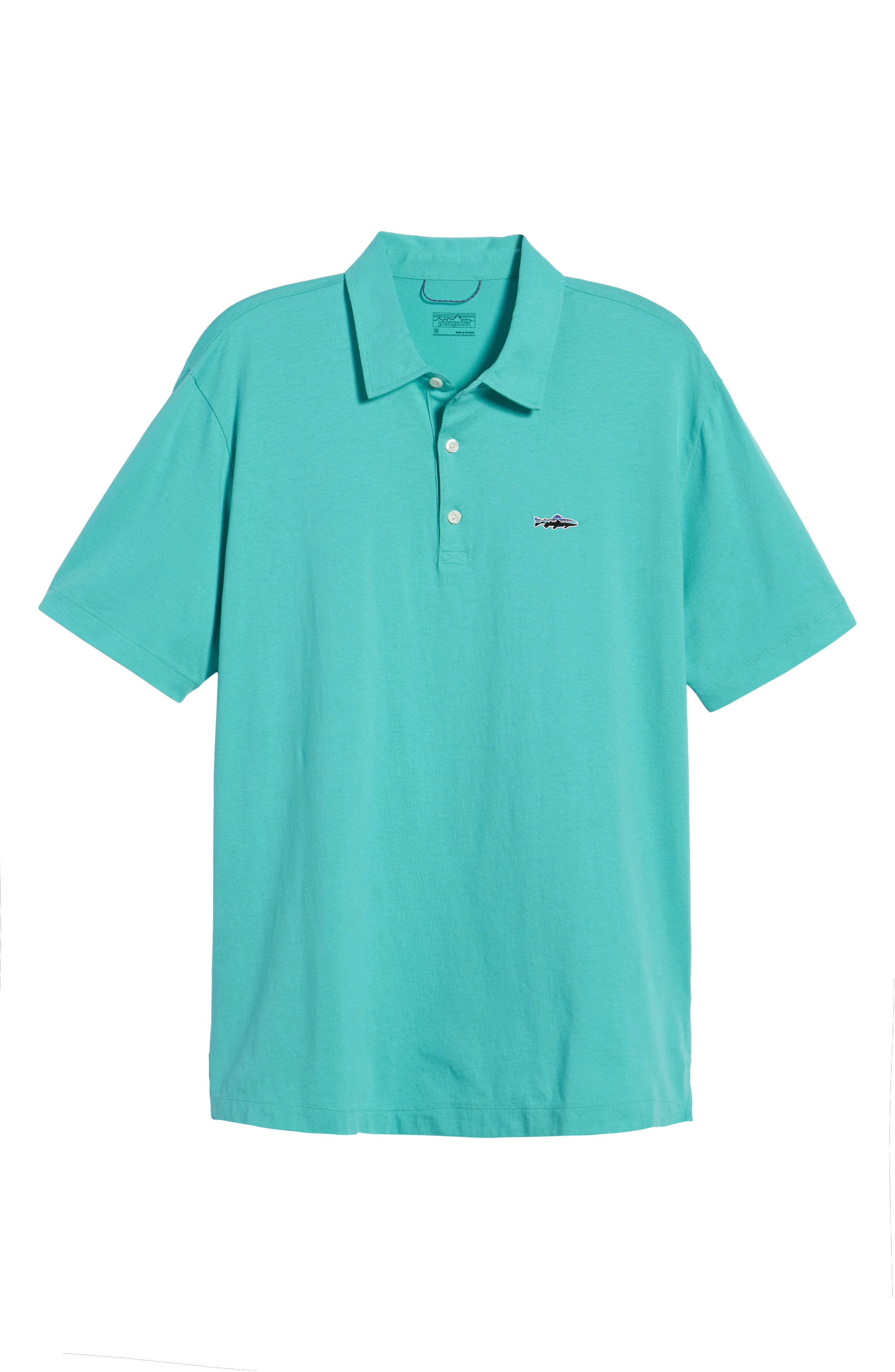 'Trout Fitz Roy' Organic Cotton Polo,                             Alternate thumbnail 6, color,                             STRAIGHT BLUE
