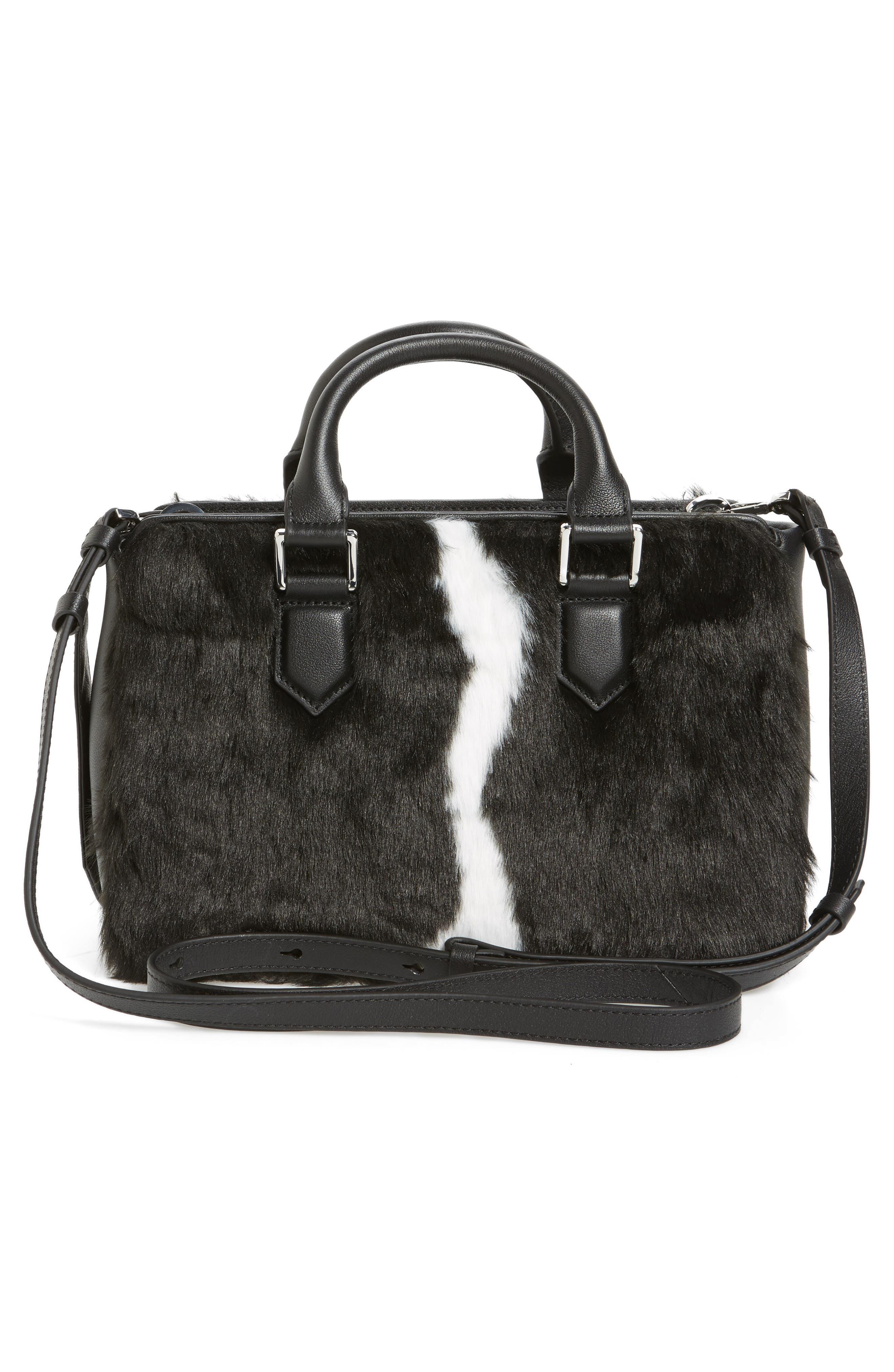 Claire Faux Fur & Leather Satchel,                             Alternate thumbnail 3, color,                             001