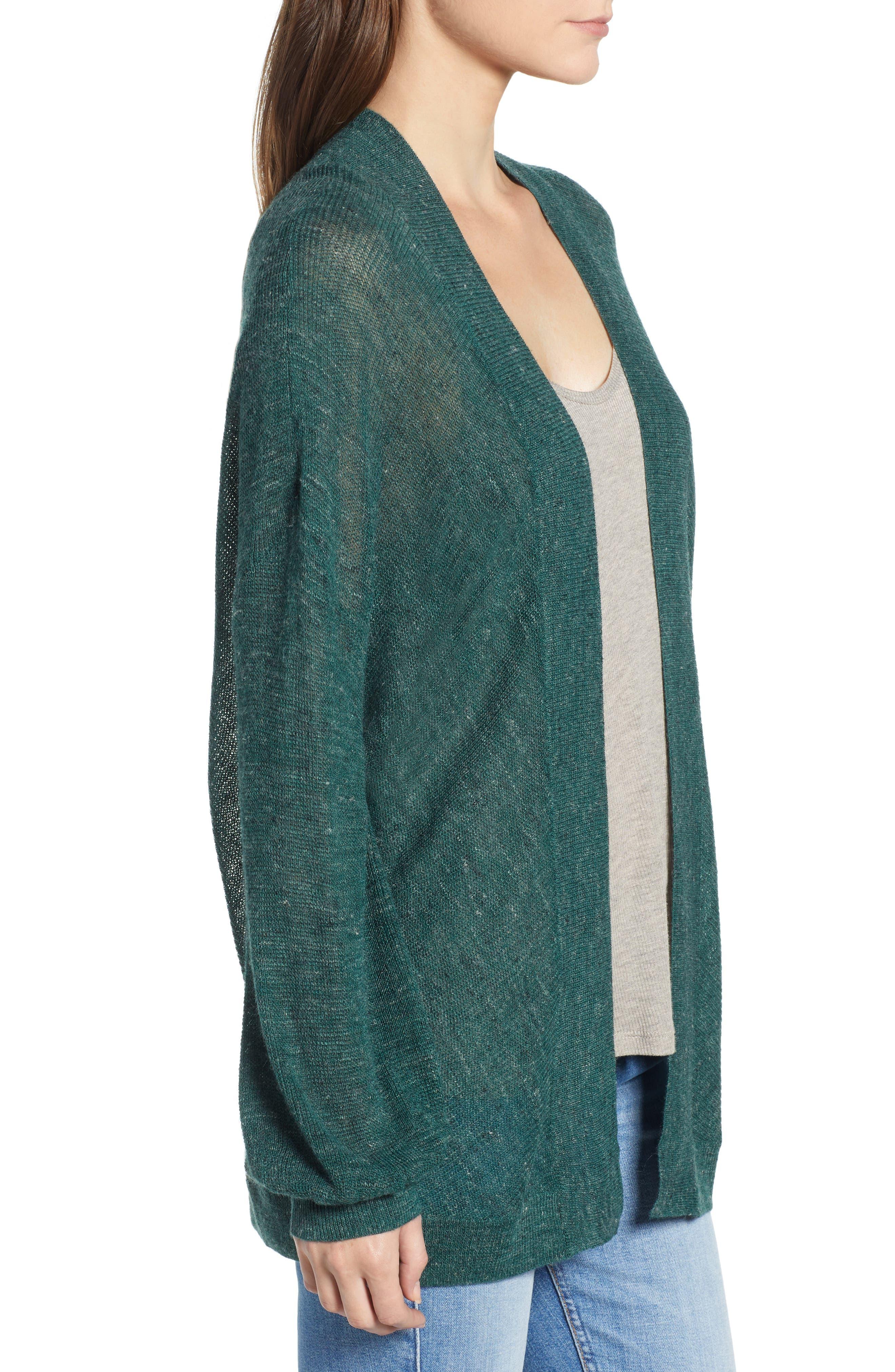 Dolman Sleeve Cardigan,                             Alternate thumbnail 3, color,                             GREEN BUG