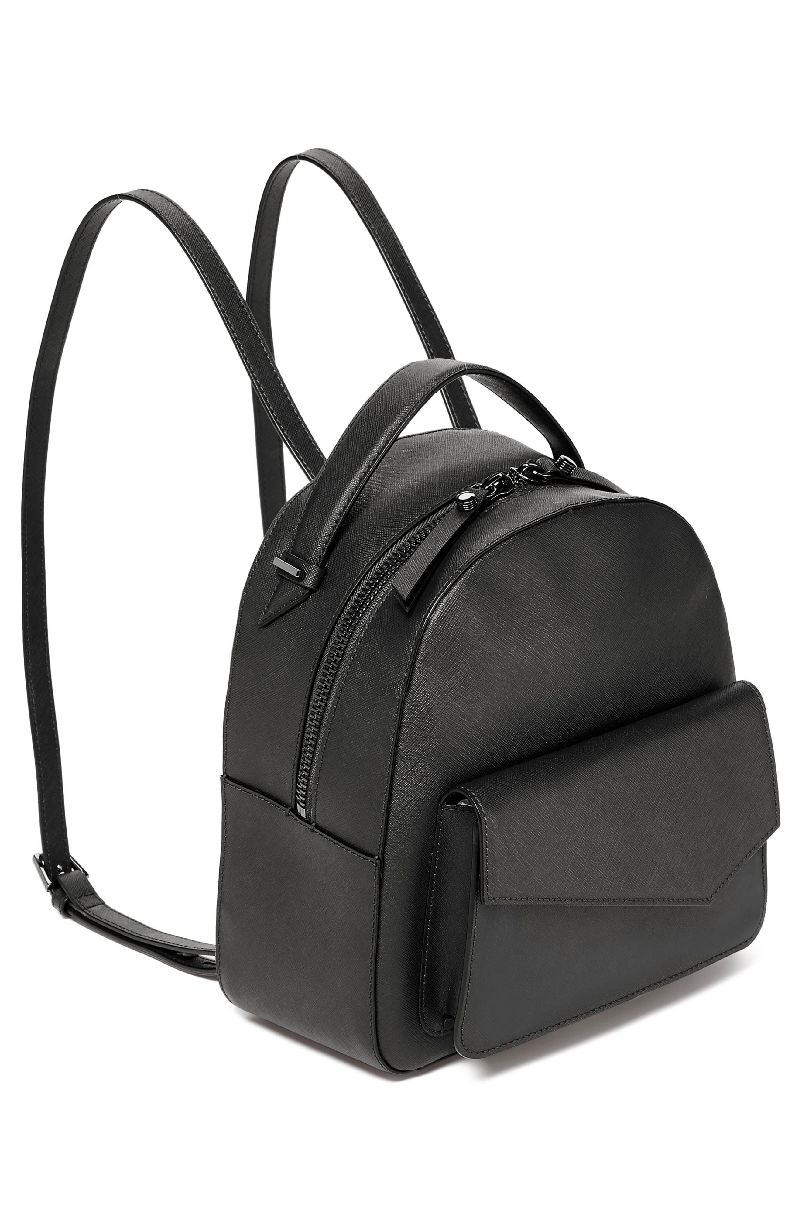 Cobble Hill Calfskin Leather Backpack,                             Alternate thumbnail 4, color,                             BLACK