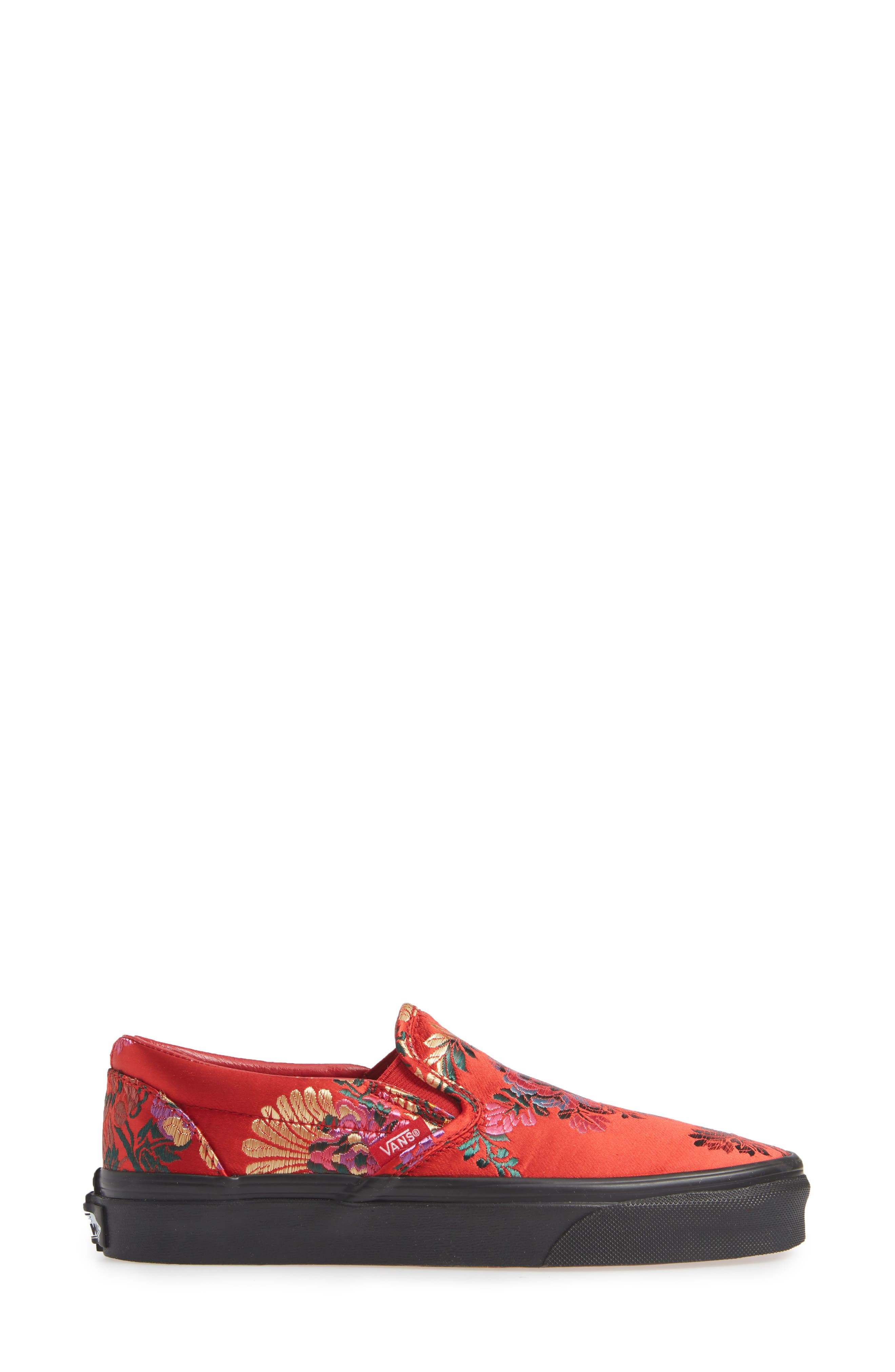 Classic Embroidered Satin Slip-On Sneaker,                             Alternate thumbnail 3, color,                             RED/ BLACK