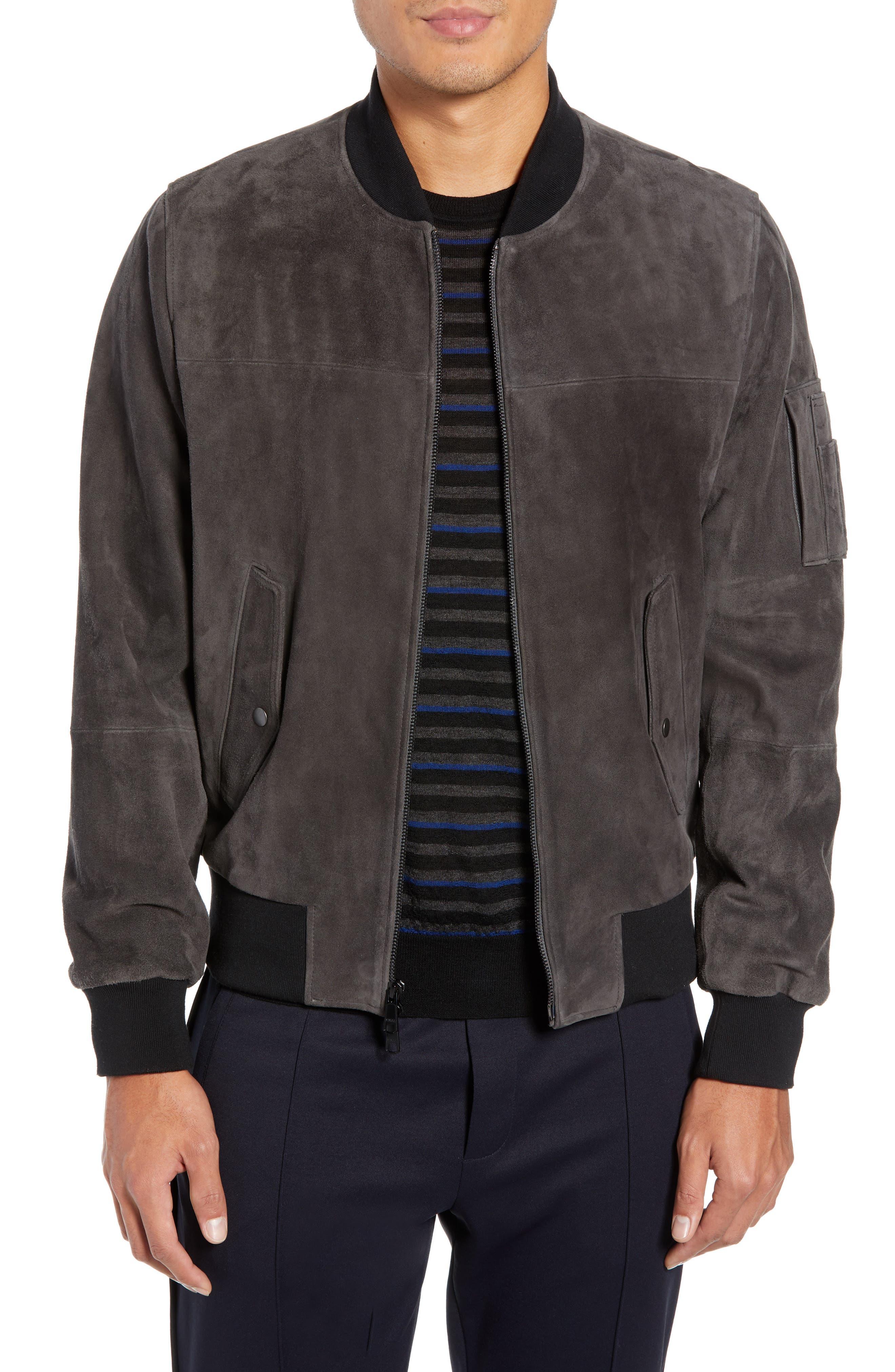Vince Suede Bomber Jacket, Grey