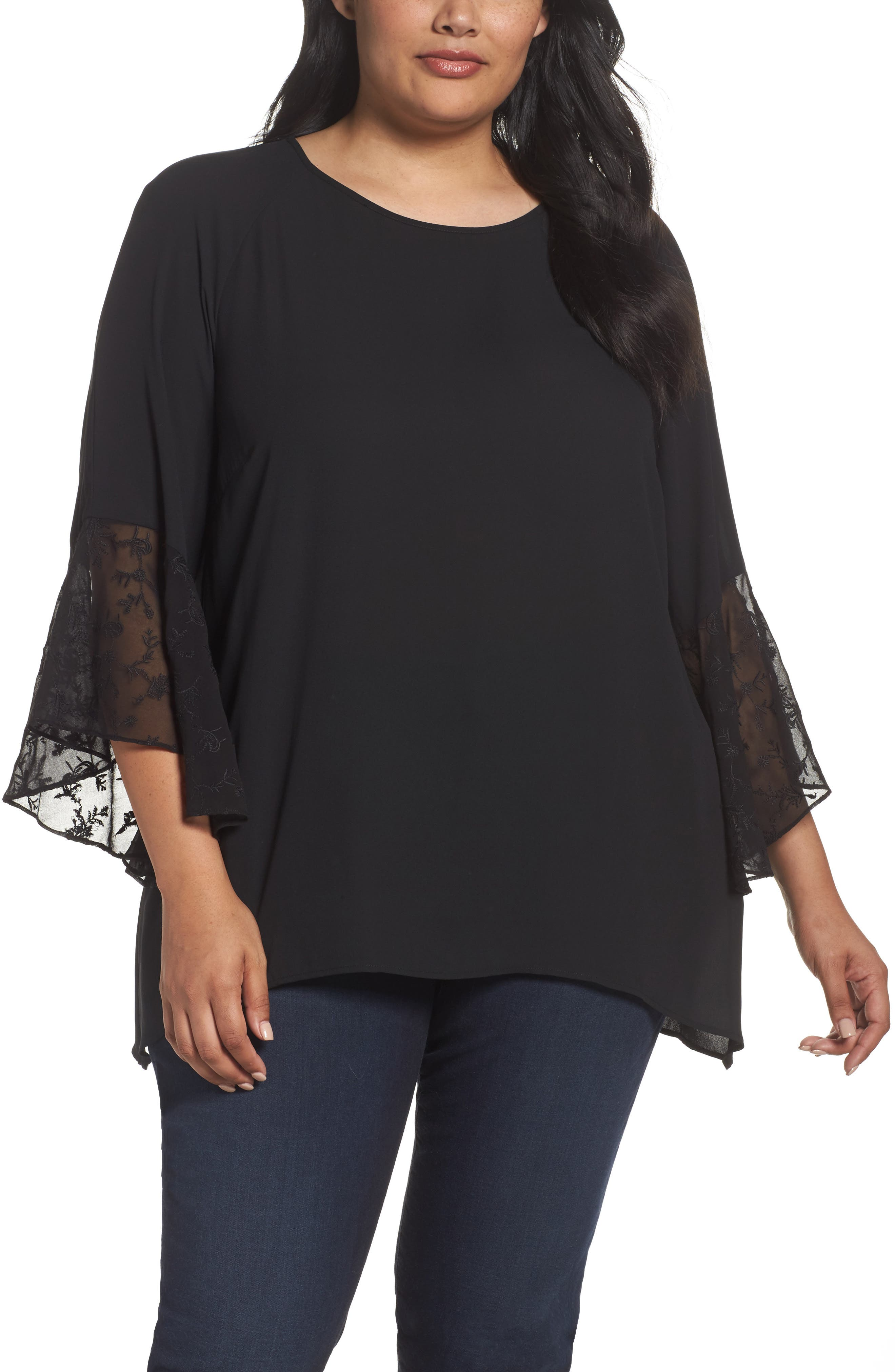 Embroidered Bell Sleeve Blouse,                             Main thumbnail 1, color,                             001