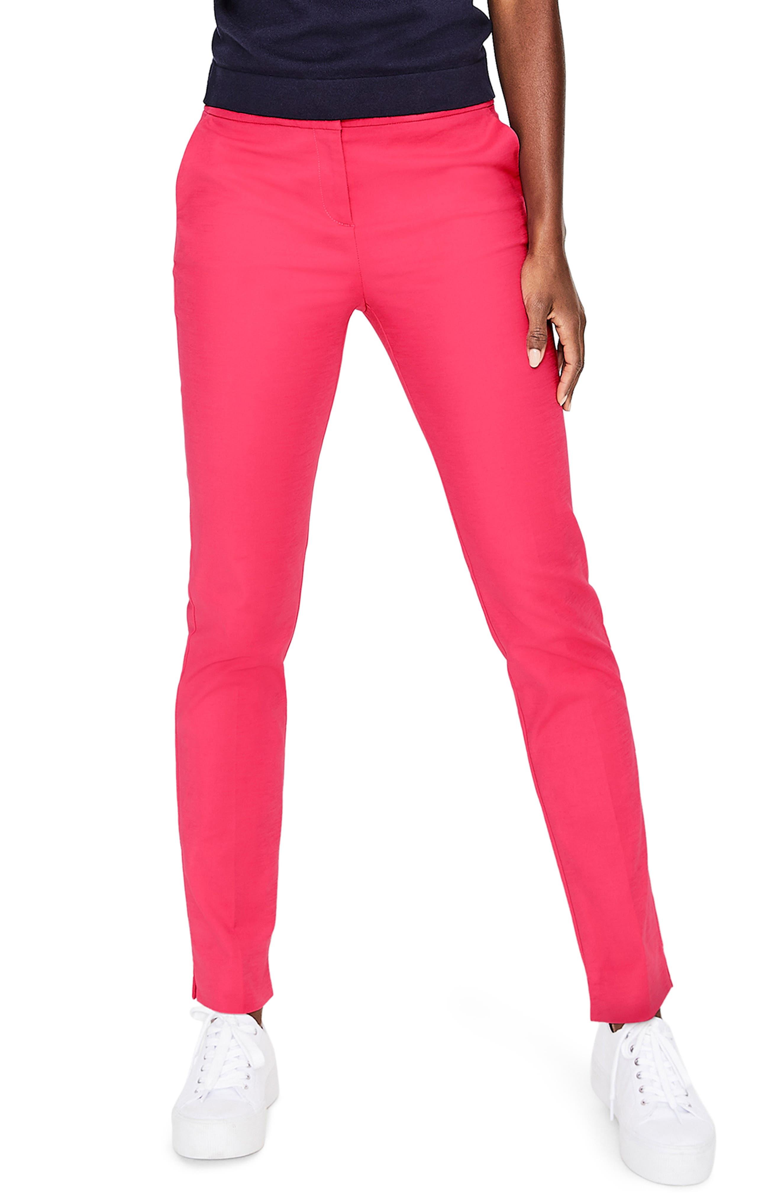 BODEN Richmond Stretch Cotton Trousers, Main, color, GARDEN ROSE