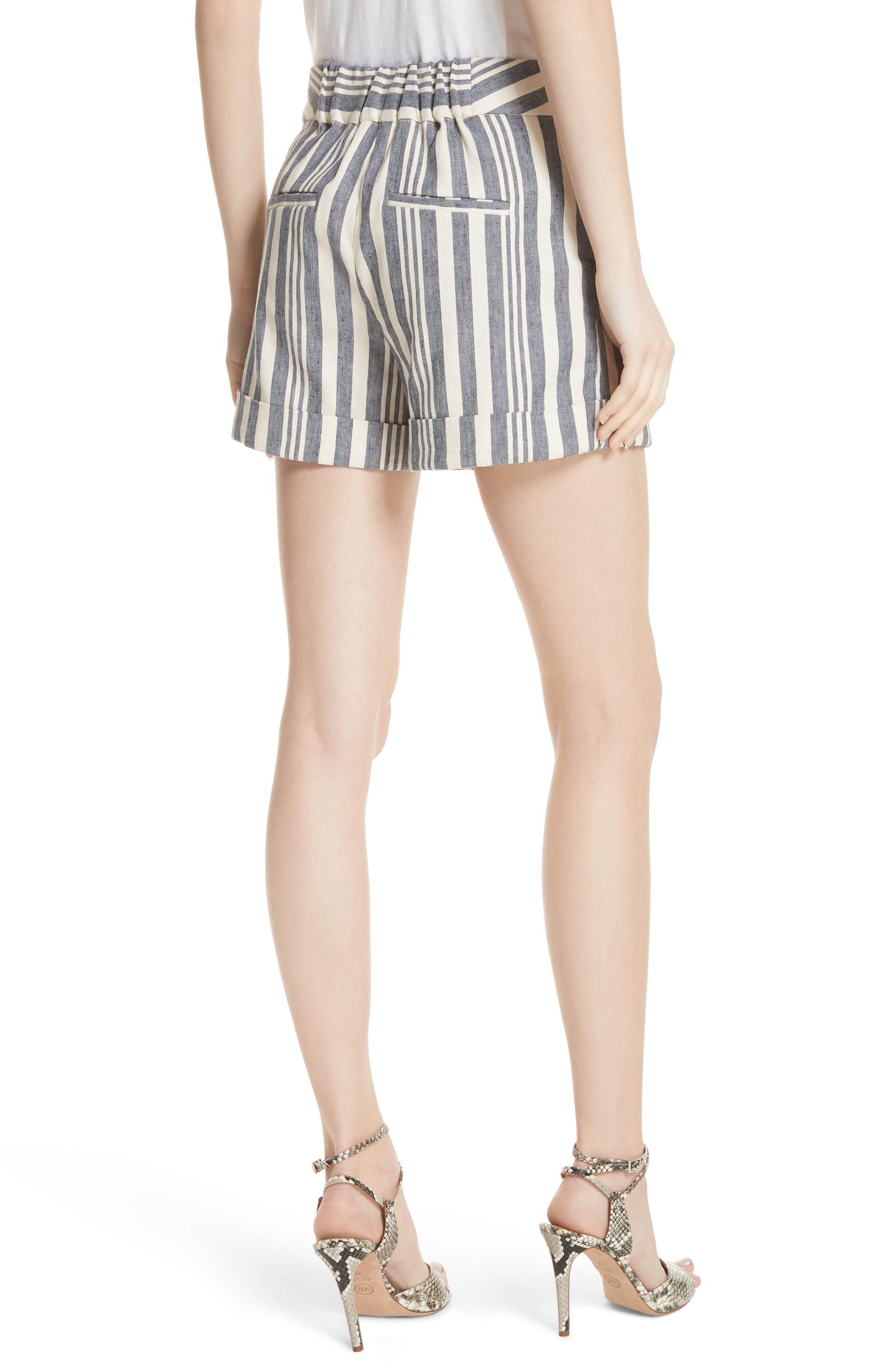 Carito Stripe Linen & Cotton Shorts,                             Alternate thumbnail 2, color,                             413