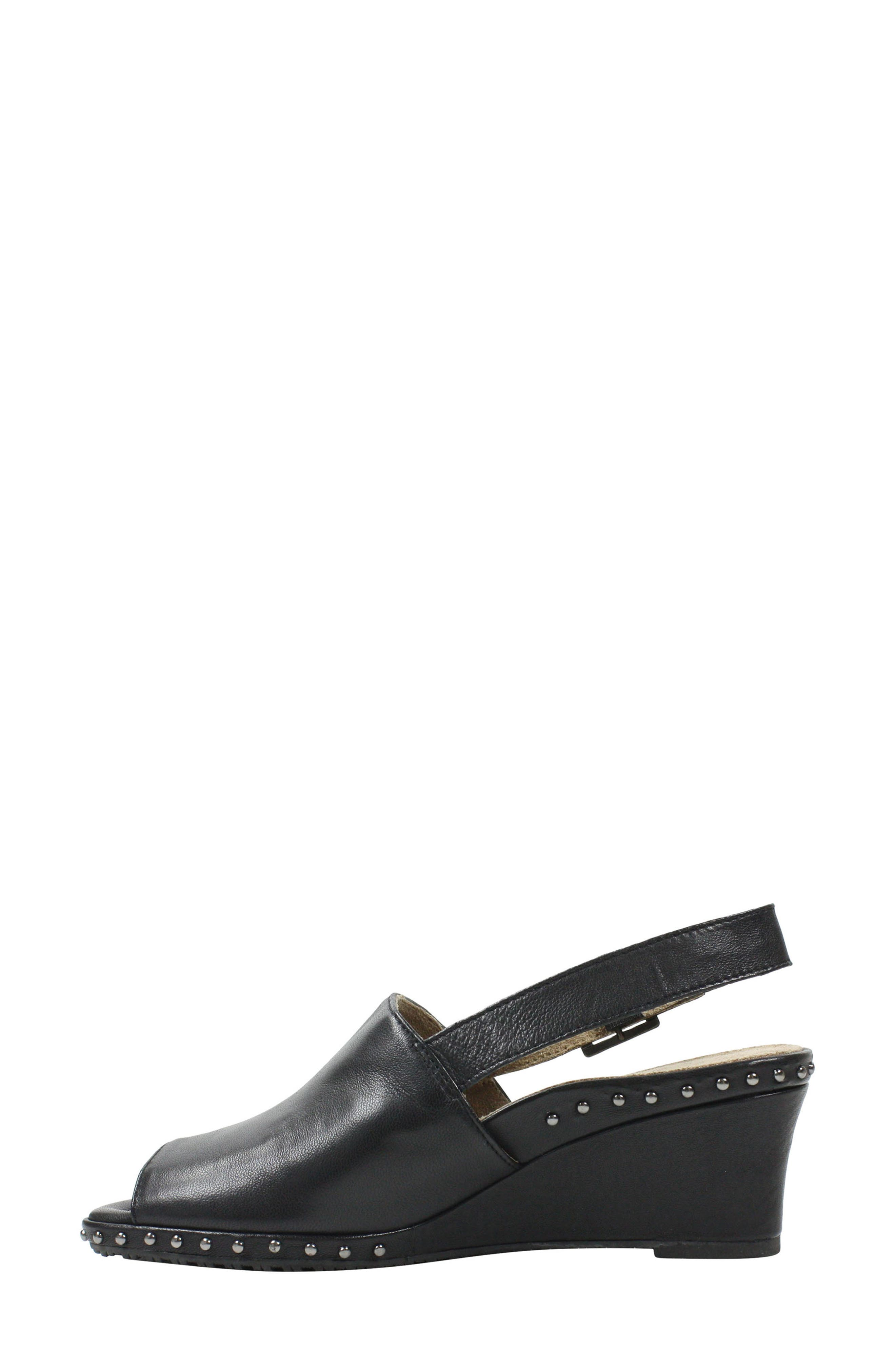 Antandra Wedge Sandal,                             Alternate thumbnail 7, color,                             BLACK LEATHER